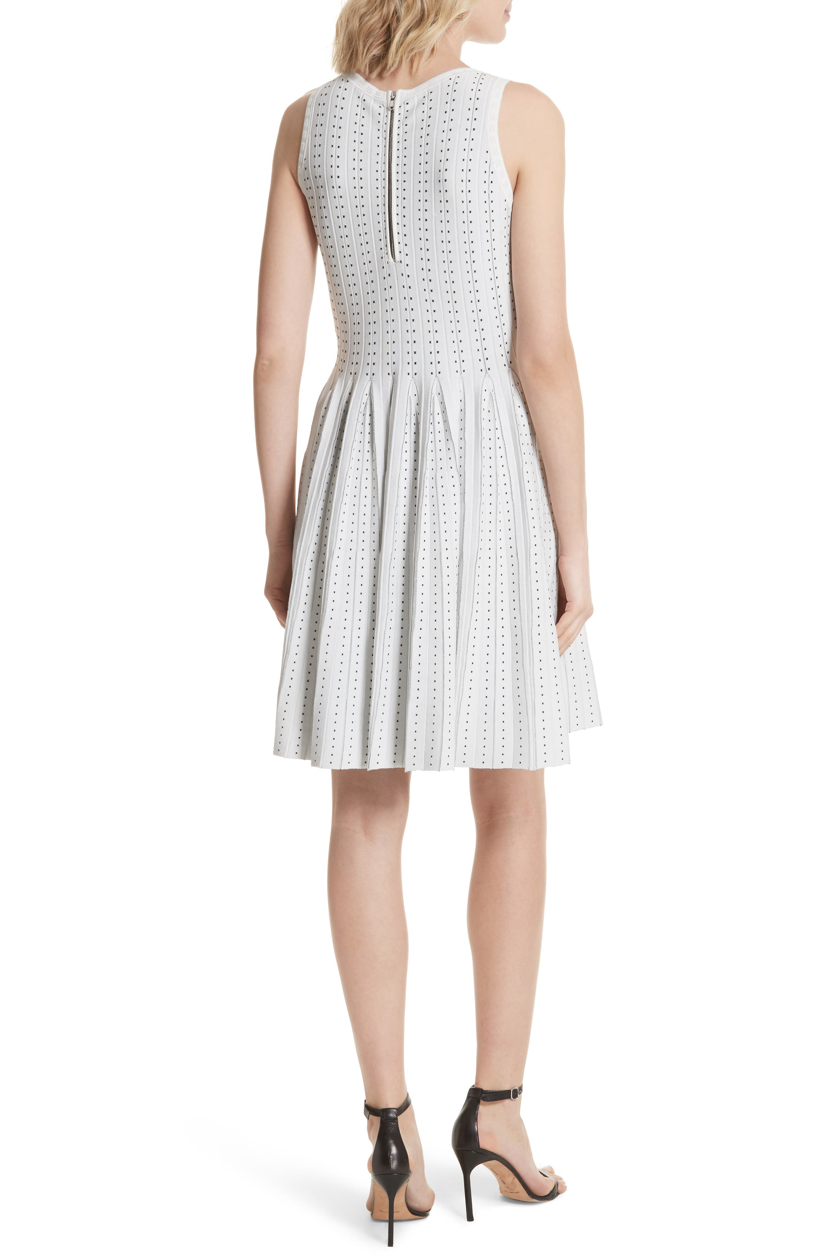 Dot Pleat Fit & Flare Dress,                             Alternate thumbnail 2, color,                             110