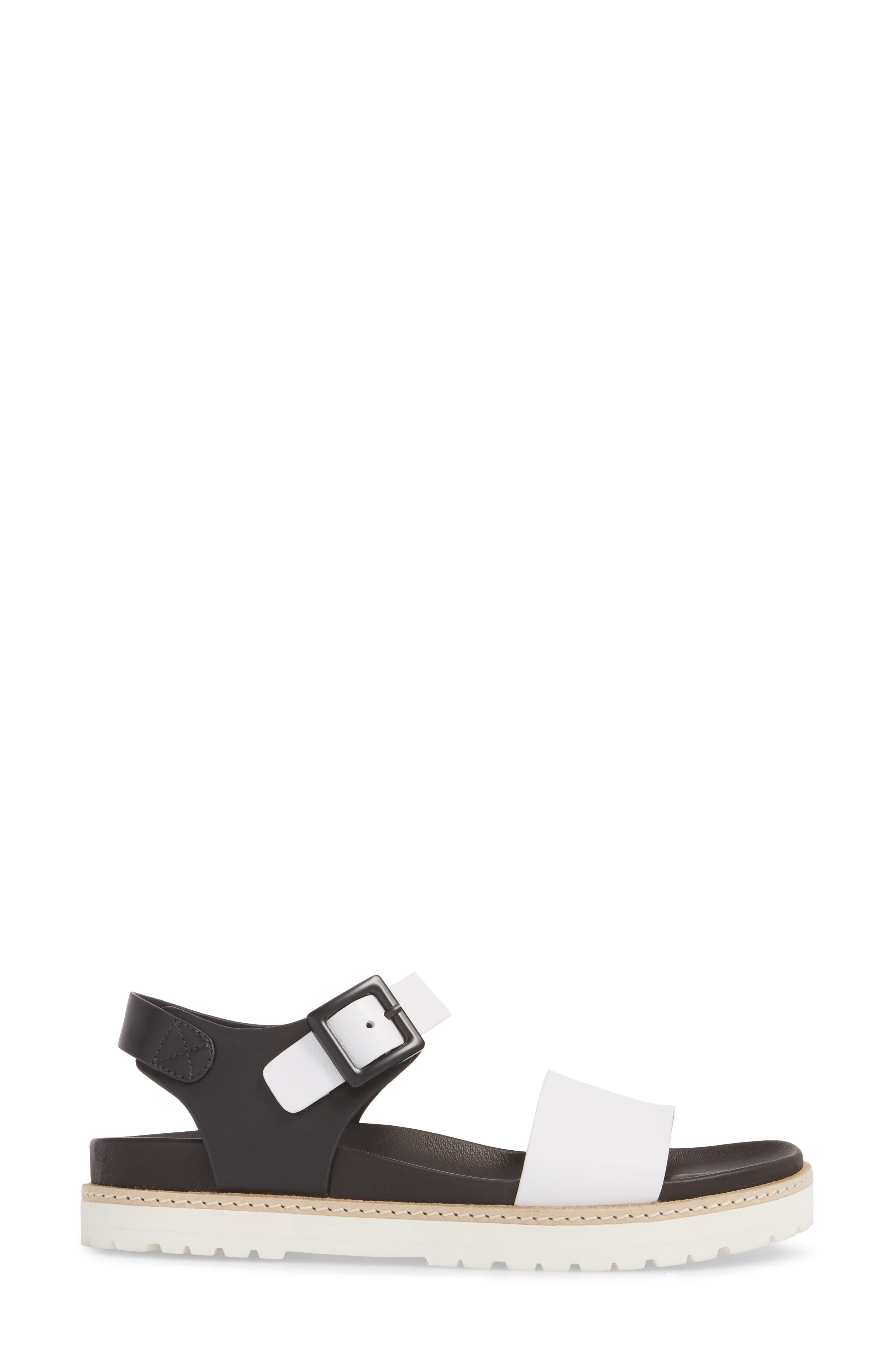 Ange Sandal,                             Alternate thumbnail 3, color,                             WHITE/ BLACK LEATHER