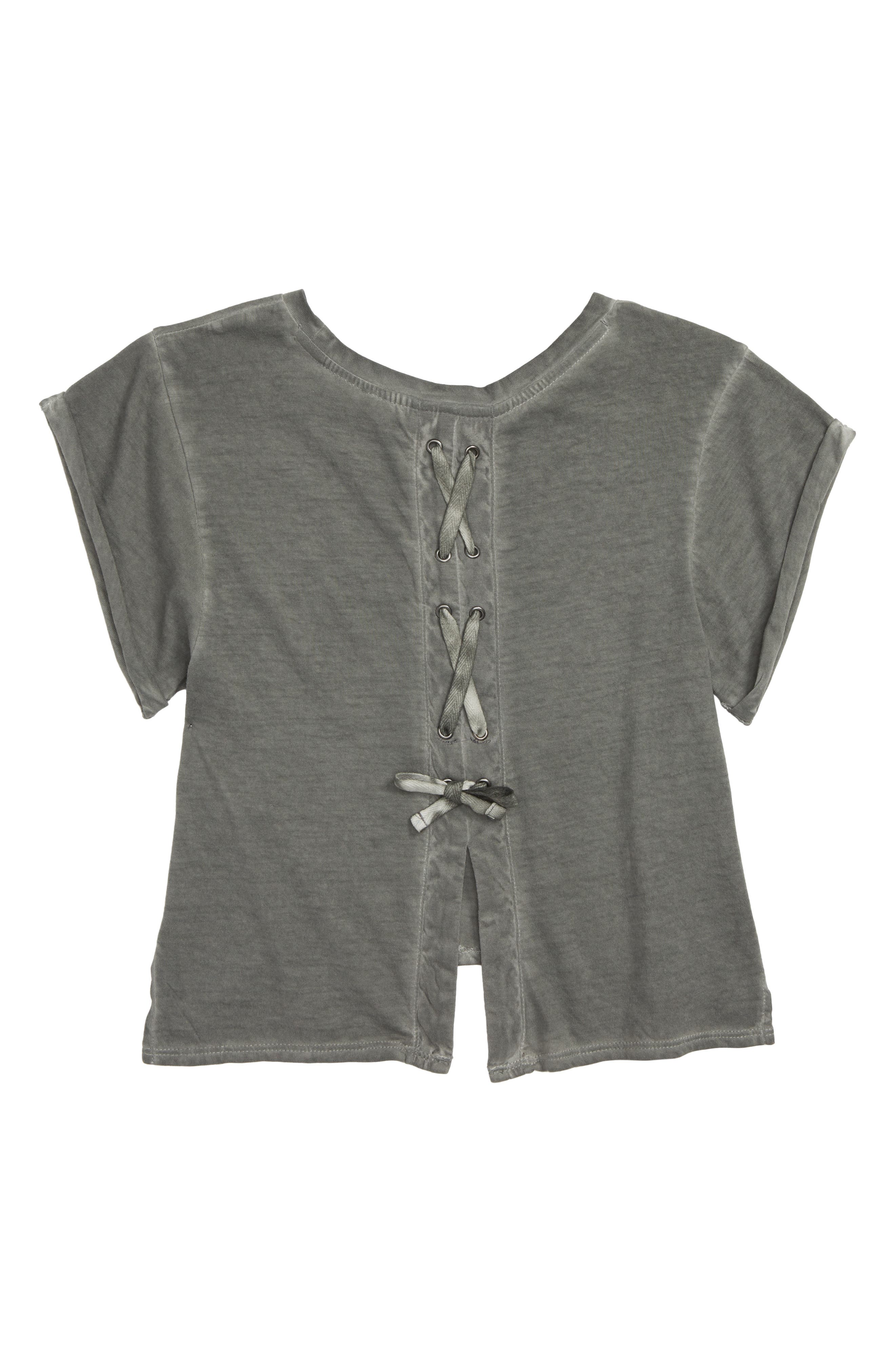 Lace-Up Tee,                             Alternate thumbnail 2, color,                             GREY COBBLE