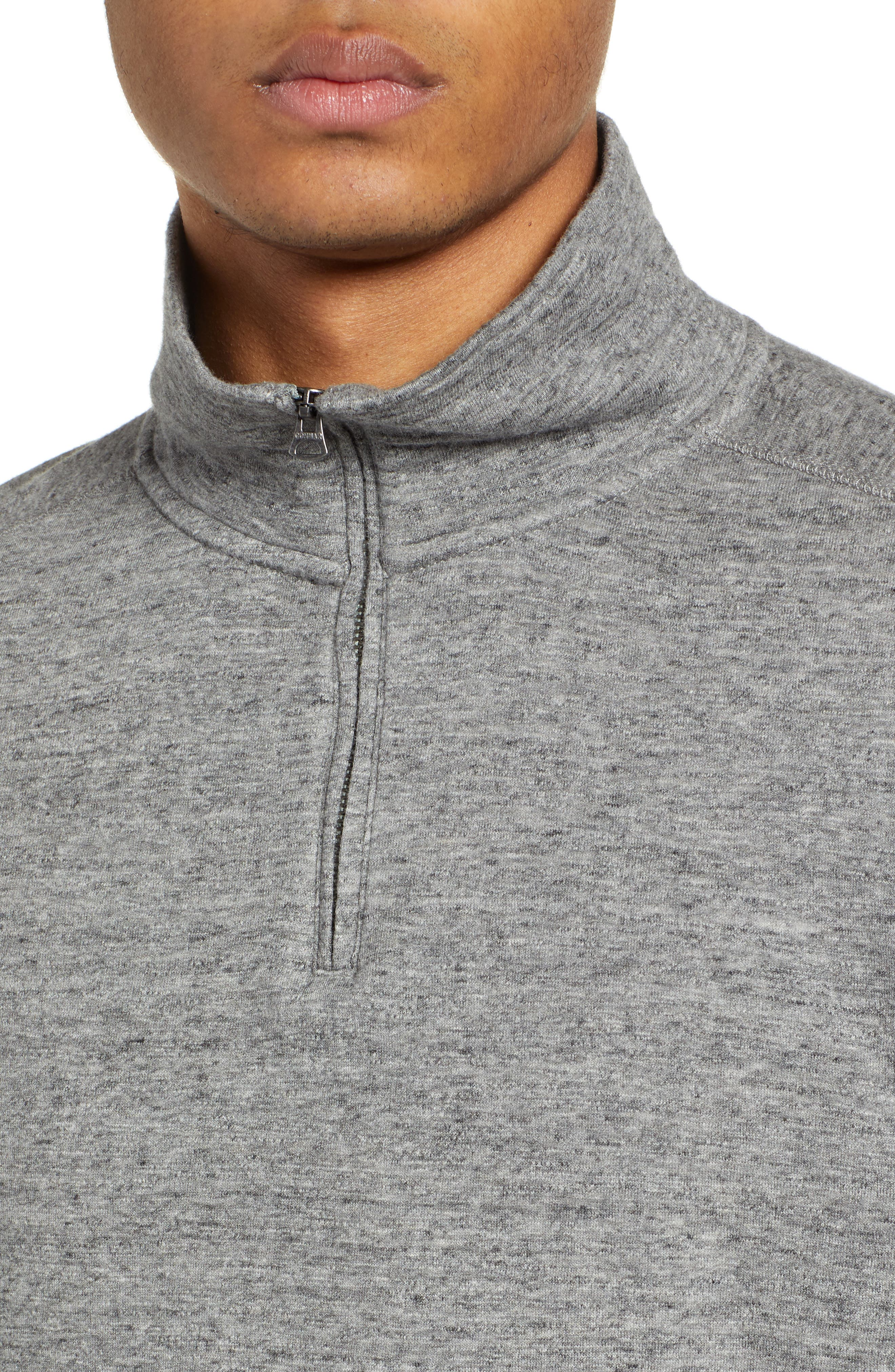 Double Knit Half Zip Pullover,                             Alternate thumbnail 4, color,                             MARLED STEEL