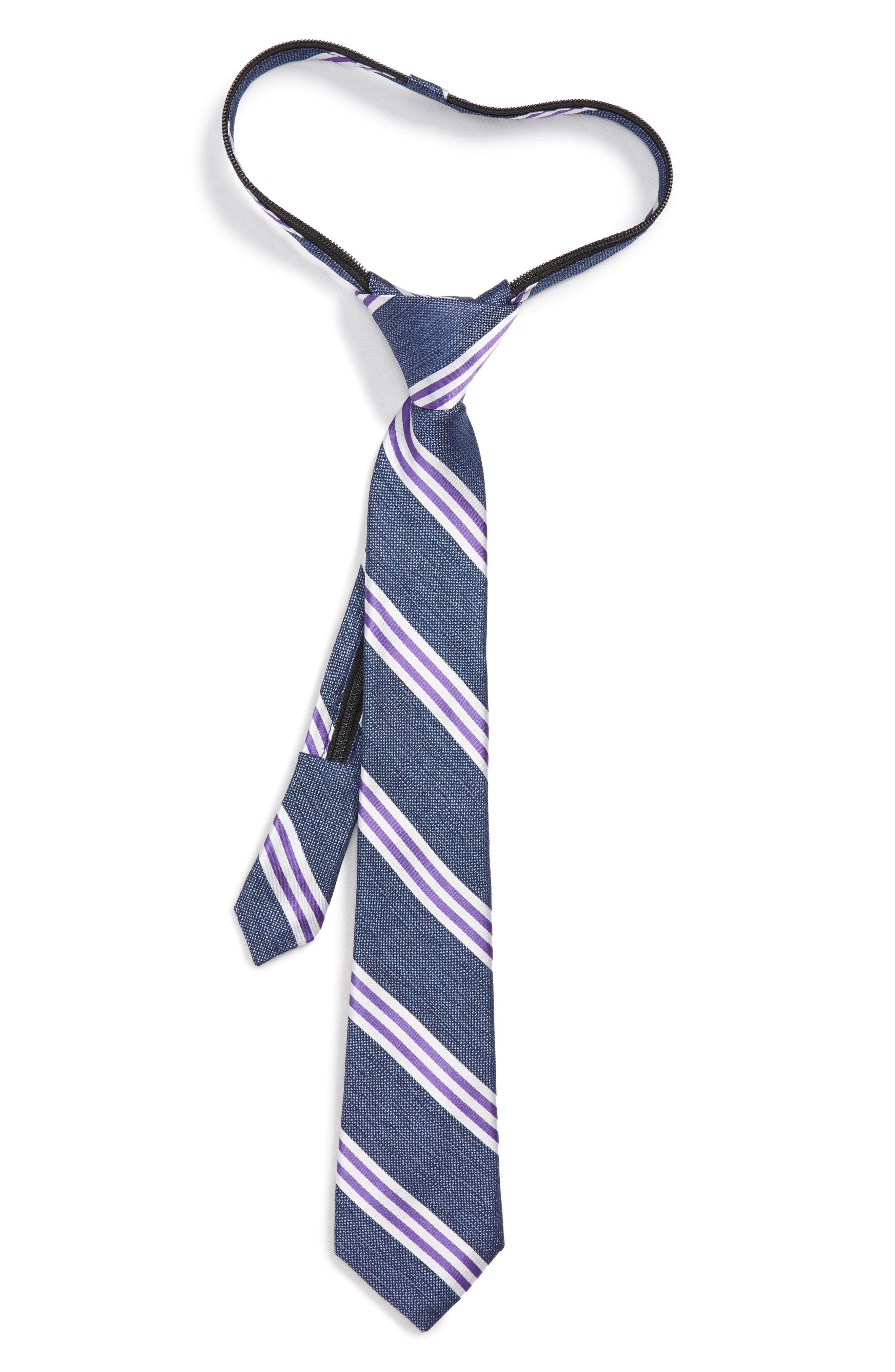Stripe Silk Zip Tie,                             Main thumbnail 1, color,                             PURPLE
