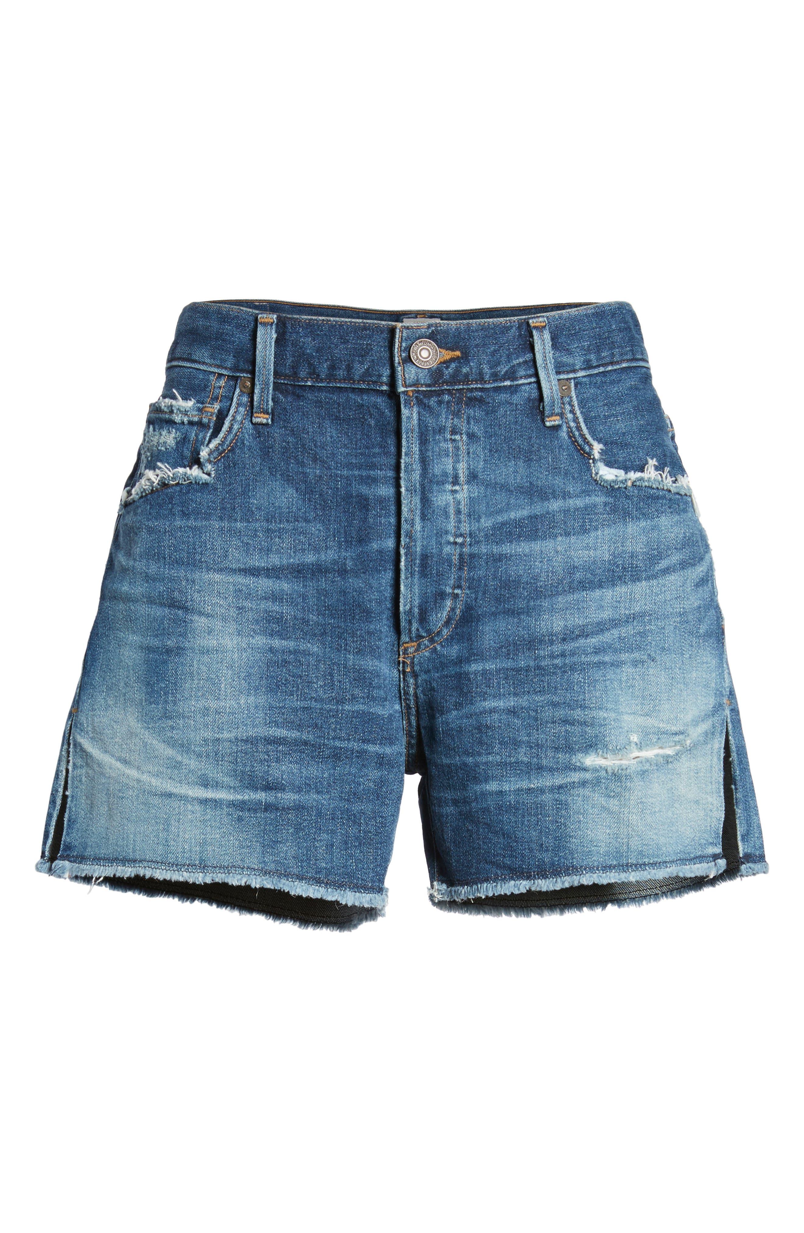 Corey Distressed Slouchy Denim Shorts,                             Alternate thumbnail 7, color,                             423