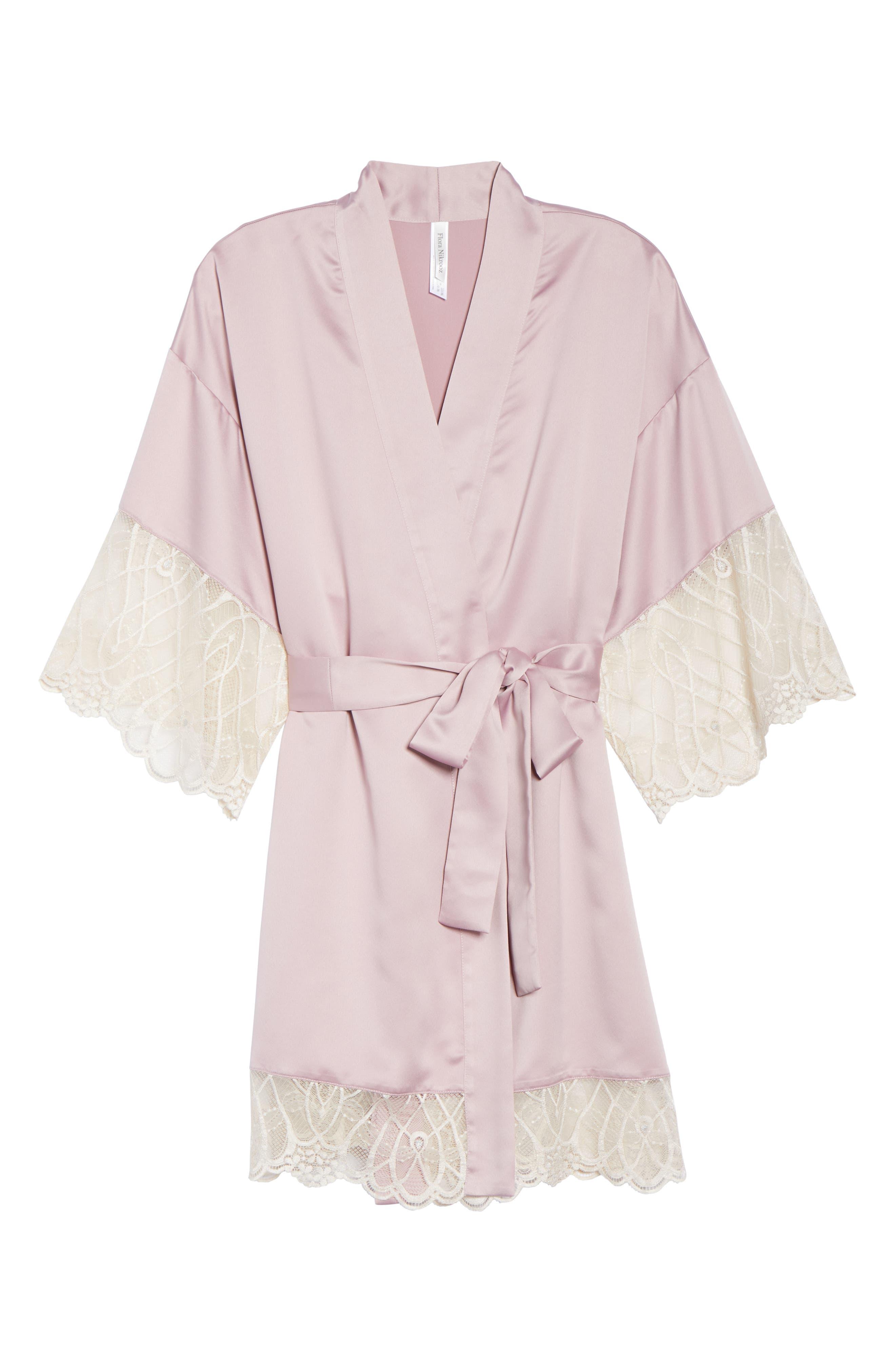 Gabby Satin Kimono Robe,                             Alternate thumbnail 6, color,                             FROSTED LILAC