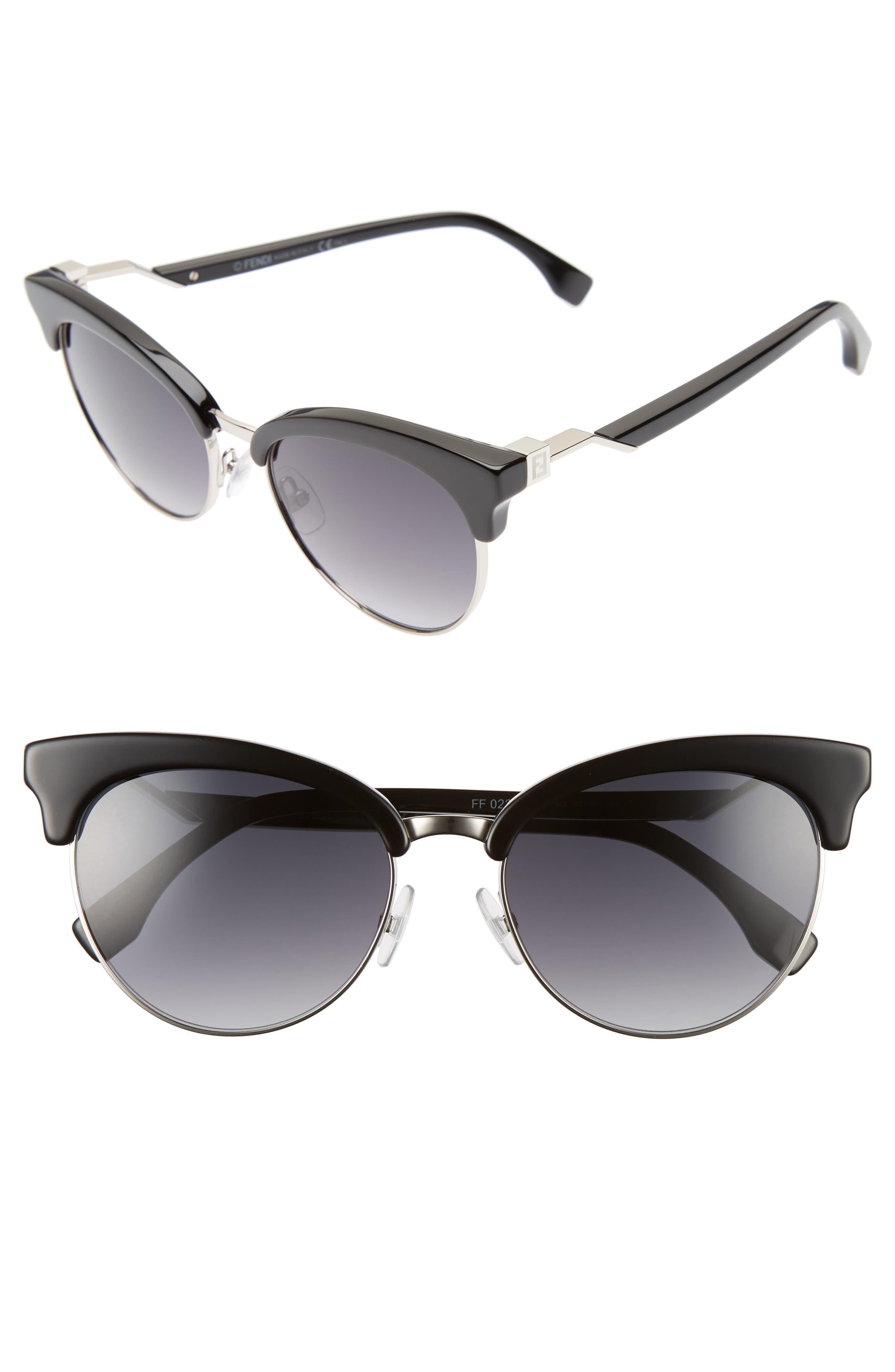 55mm Gradient Lens Cat Eye Sunglasses,                             Main thumbnail 1, color,                             001
