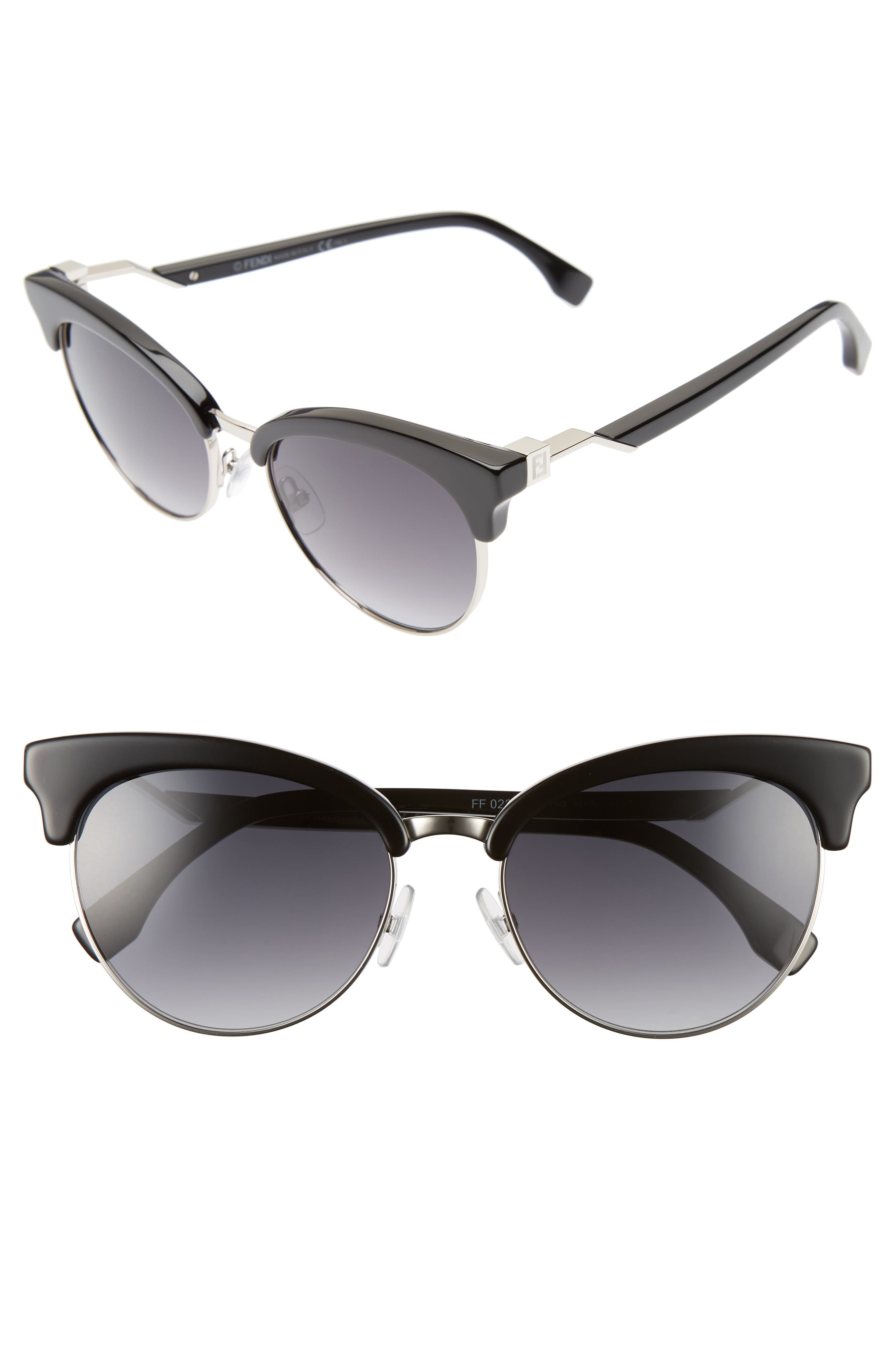 55mm Gradient Lens Cat Eye Sunglasses,                         Main,                         color, 001