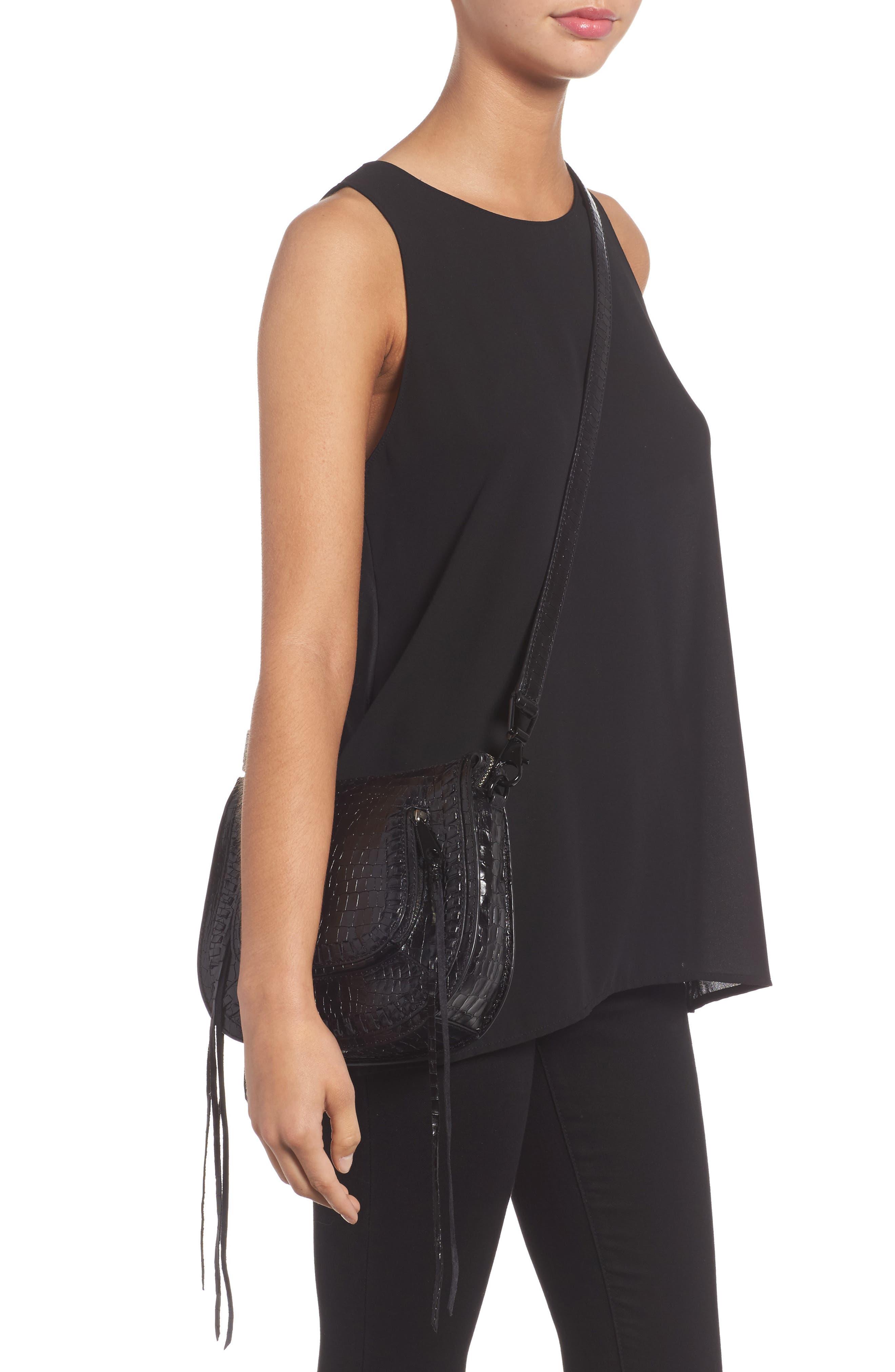 Vanity Croc-Embossed Leather Saddle Bag,                             Alternate thumbnail 2, color,