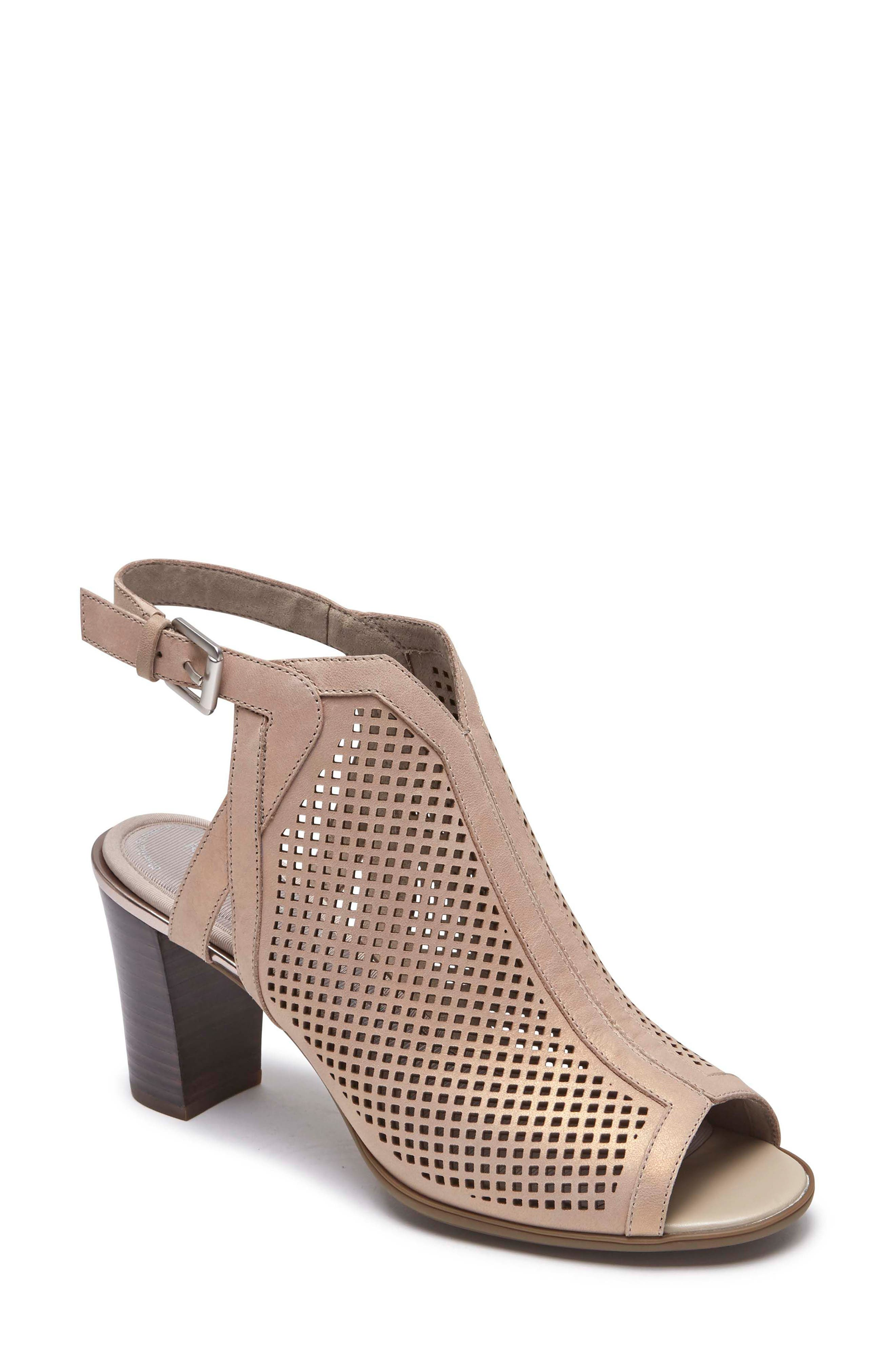 Total Motion Luxe Perforated Sandal,                         Main,                         color, DOVE LEATHER
