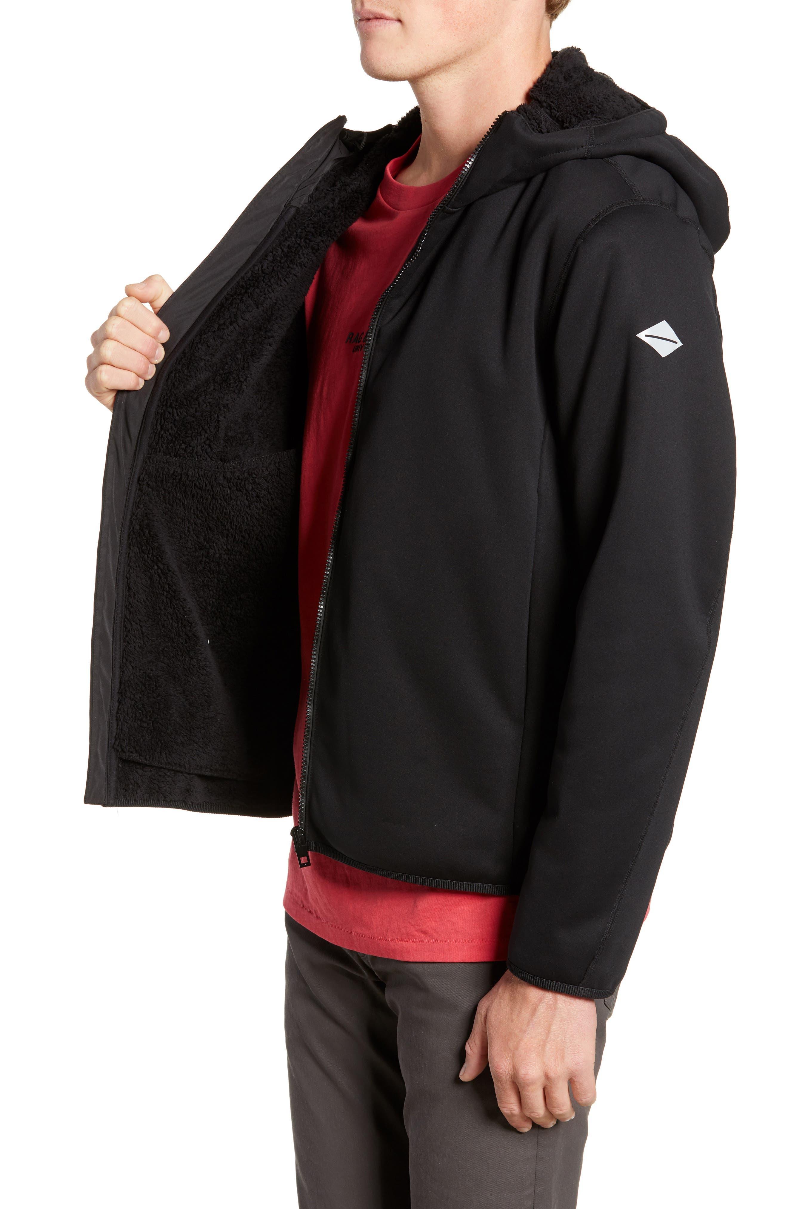 Tactic Hooded Fleece Jacket,                             Alternate thumbnail 3, color,                             BLACK