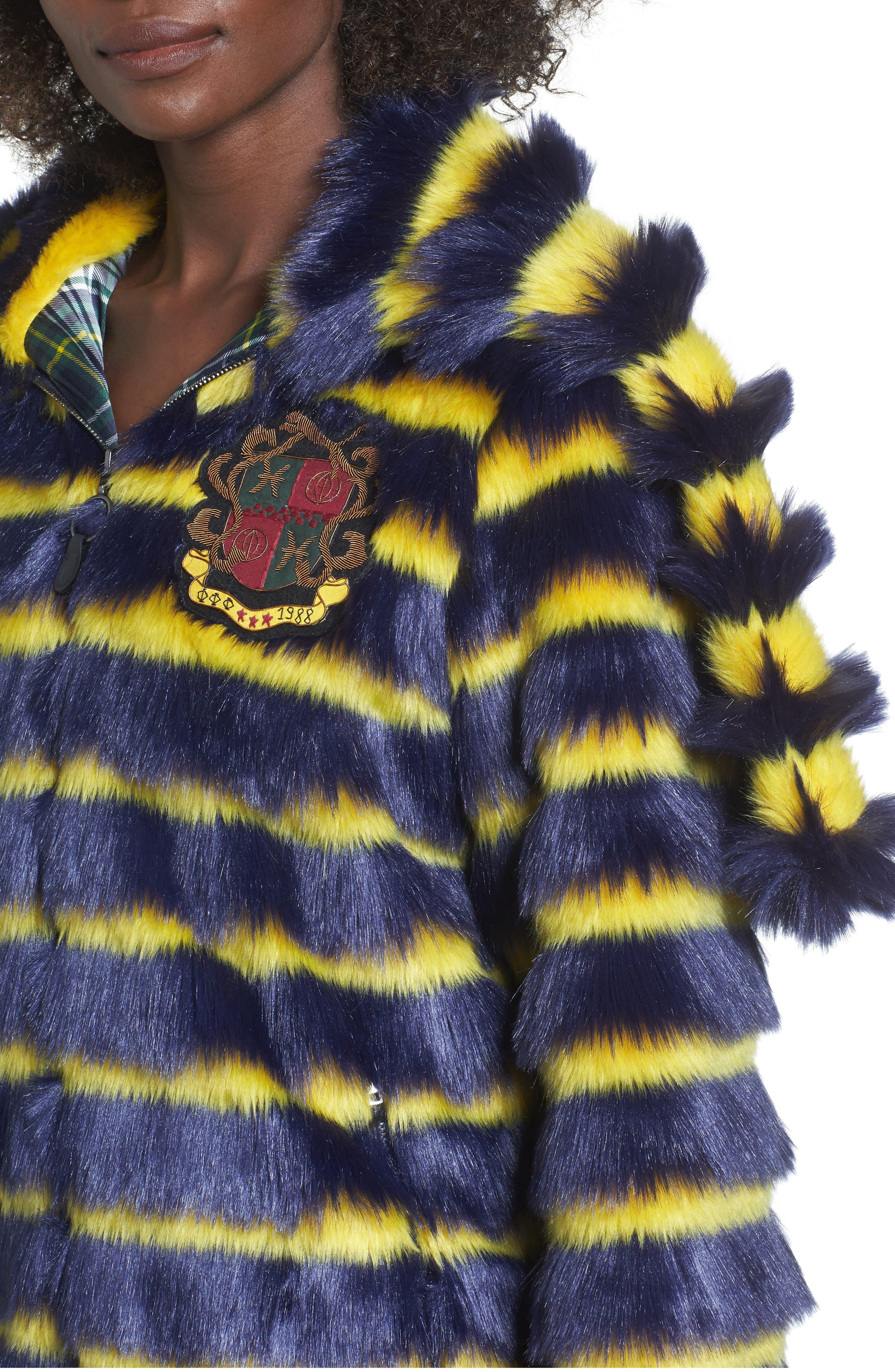 PUMA by Rihanna Faux Shearling Hooded Jacket,                             Alternate thumbnail 4, color,                             400