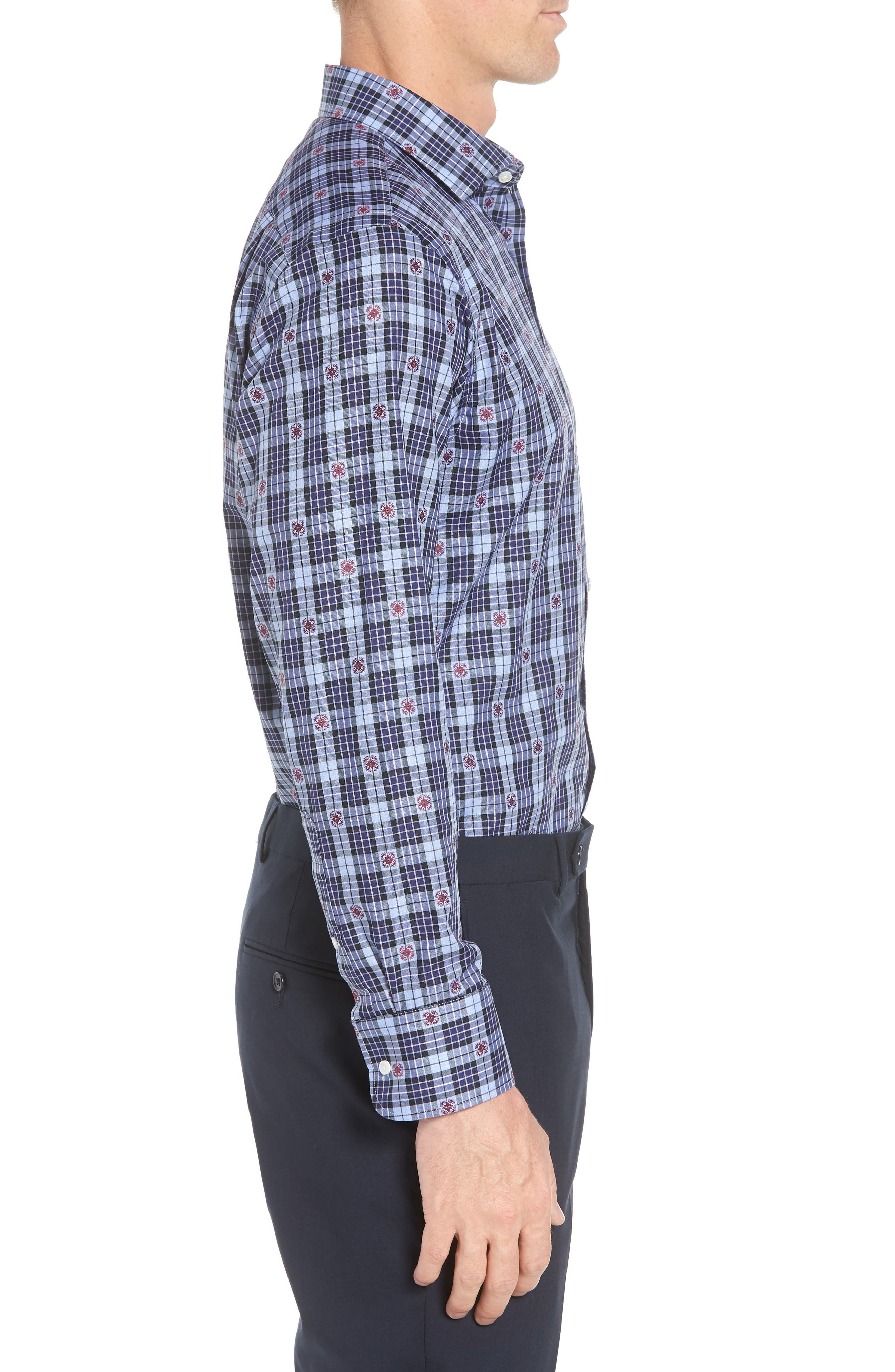 Traditional Fit Plaid Dress Shirt,                             Alternate thumbnail 4, color,                             410