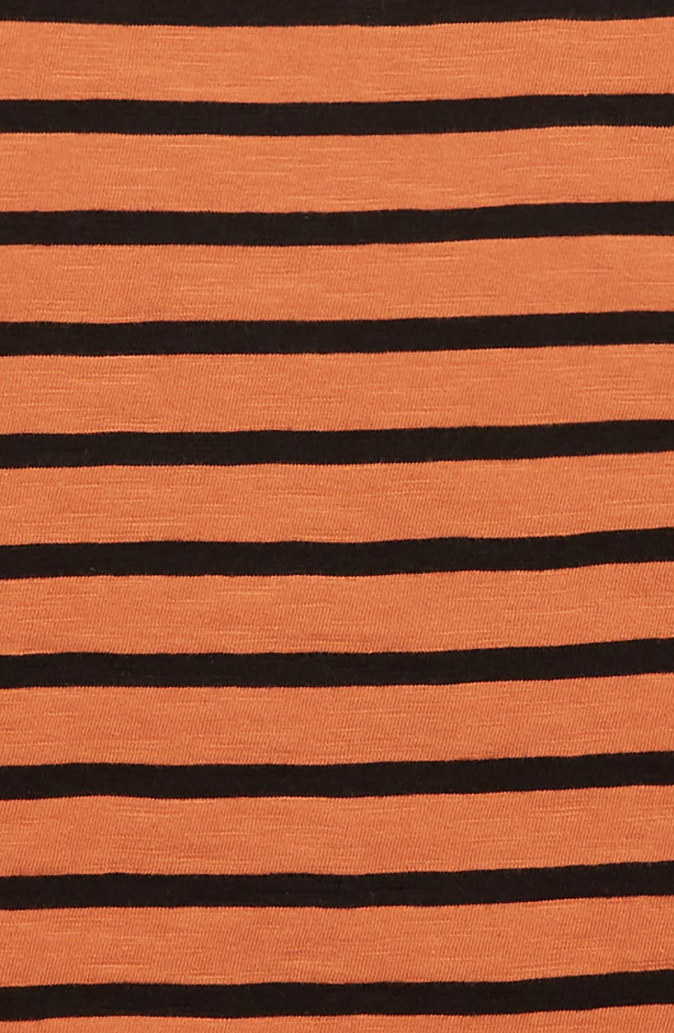 Stripy Slub T-Shirt,                             Alternate thumbnail 2, color,                             RUST LEAF- BLACK STRIPE