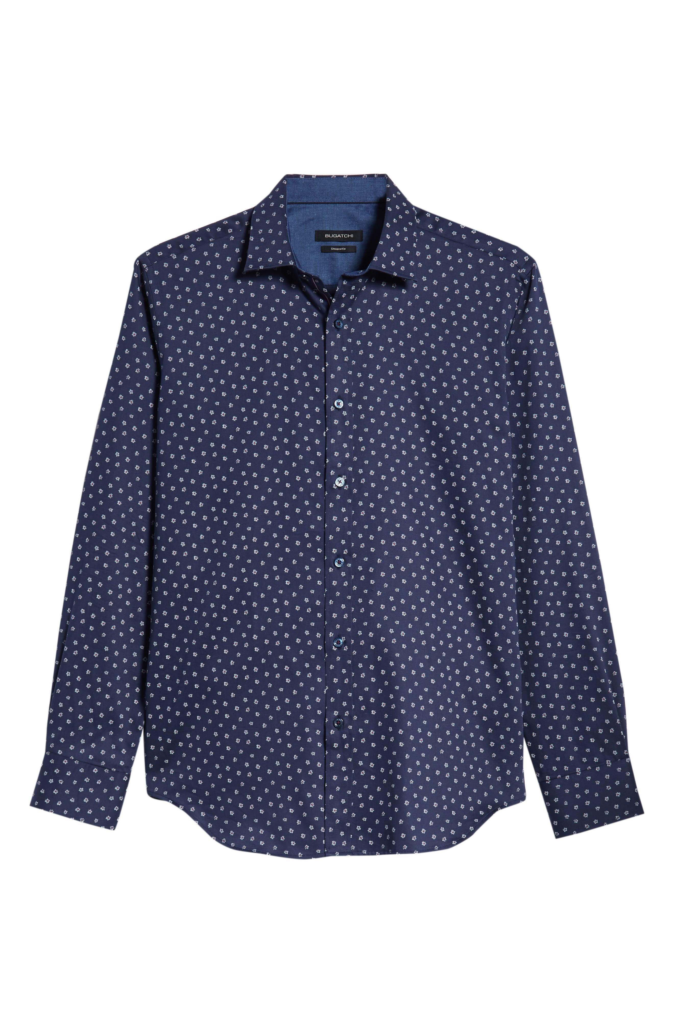 Shaped Fit Flower Print Sport Shirt,                             Alternate thumbnail 5, color,                             MIDNIGHT