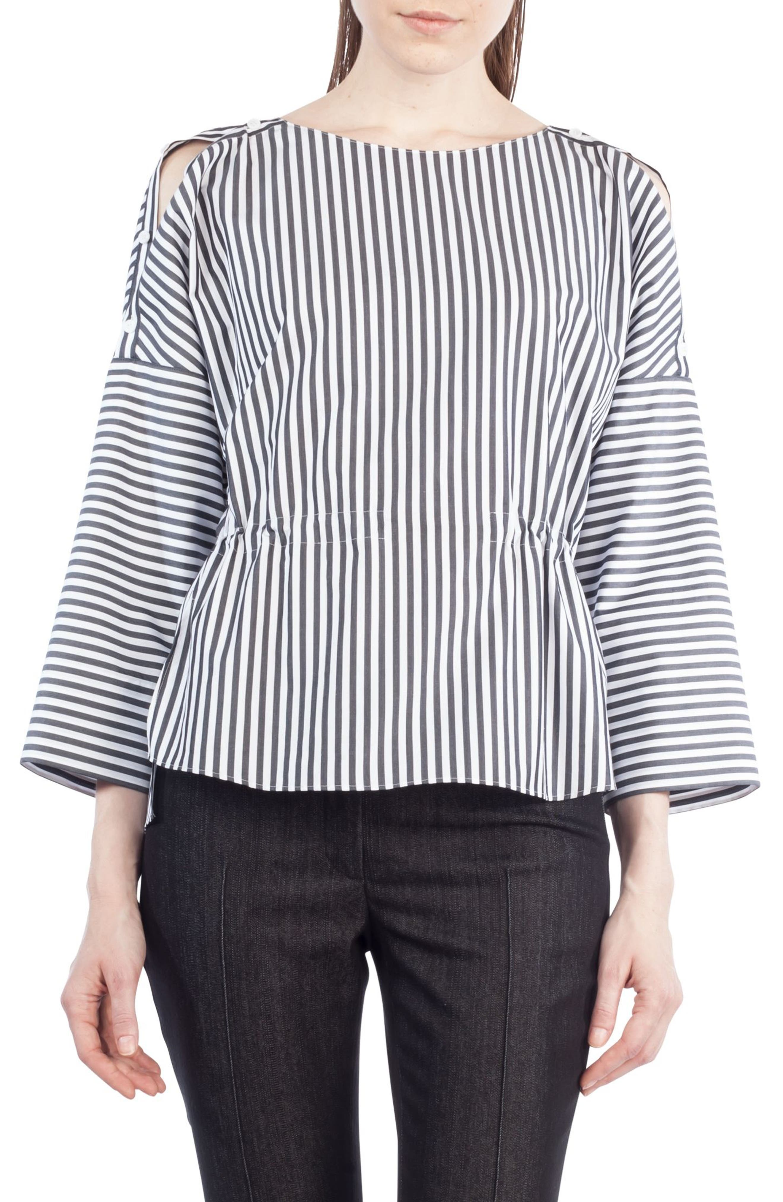 Stripe Cotton Drawstring Blouse,                             Main thumbnail 1, color,                             960