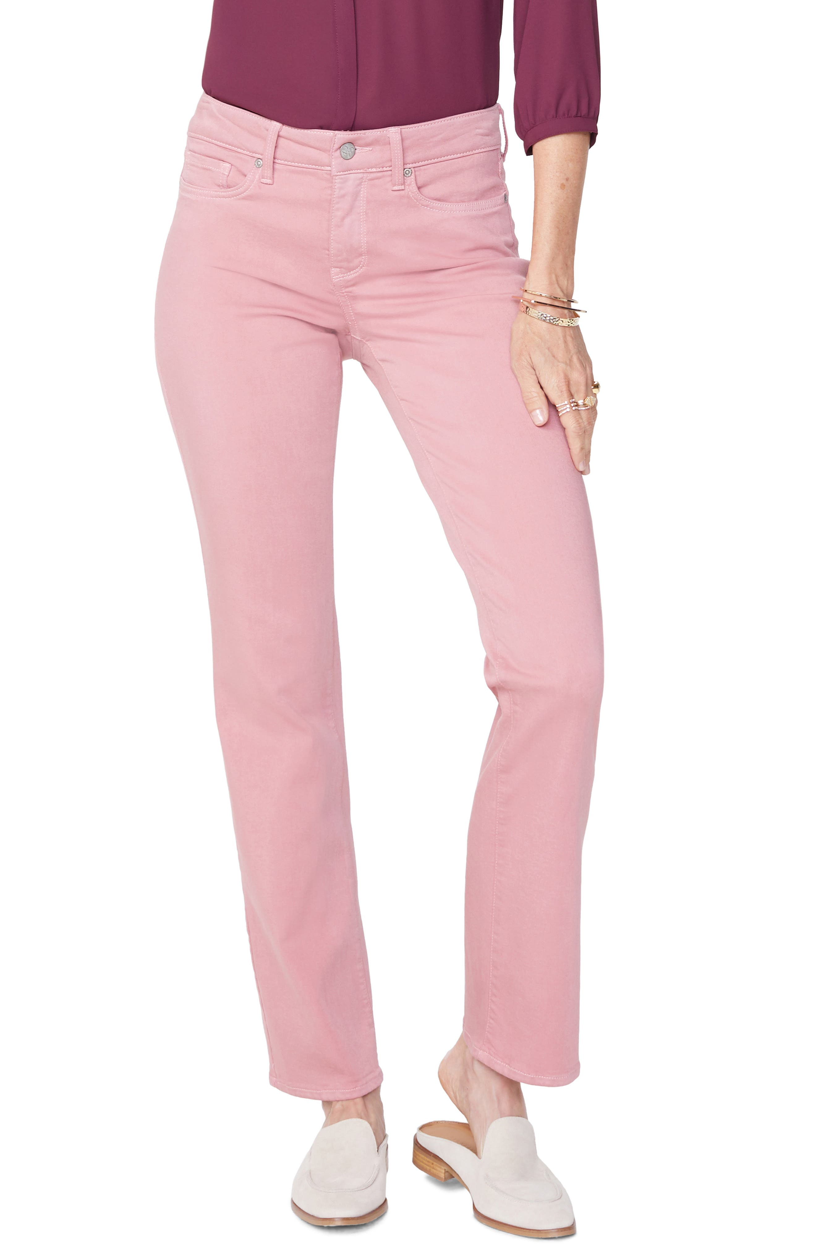 Marilyn Stretch Twill Straight Leg Pants,                             Main thumbnail 1, color,                             WOOD ROSE