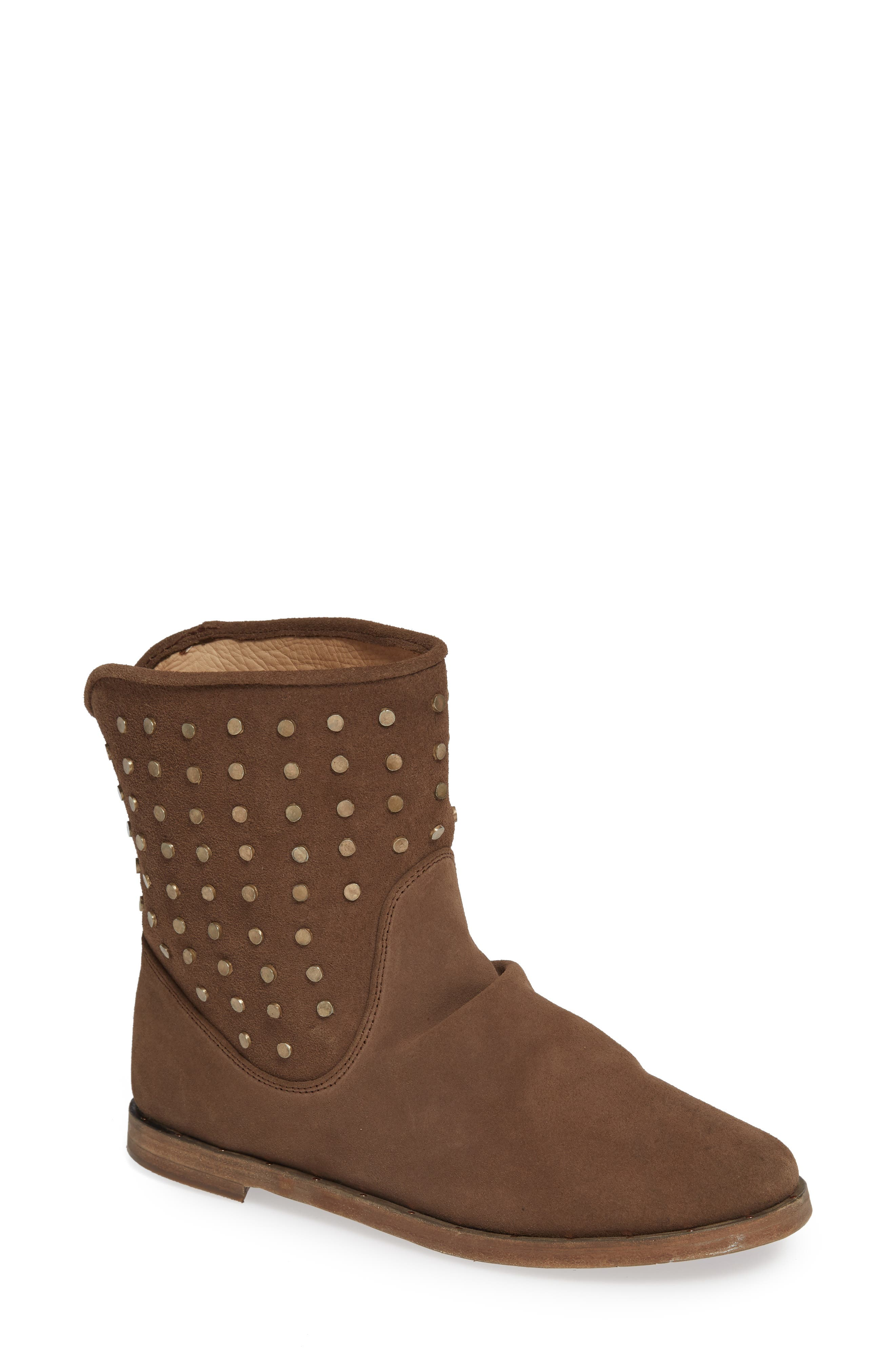 BEEK Junco Studs Slouchy Bootie in Taupe Oiled Suede