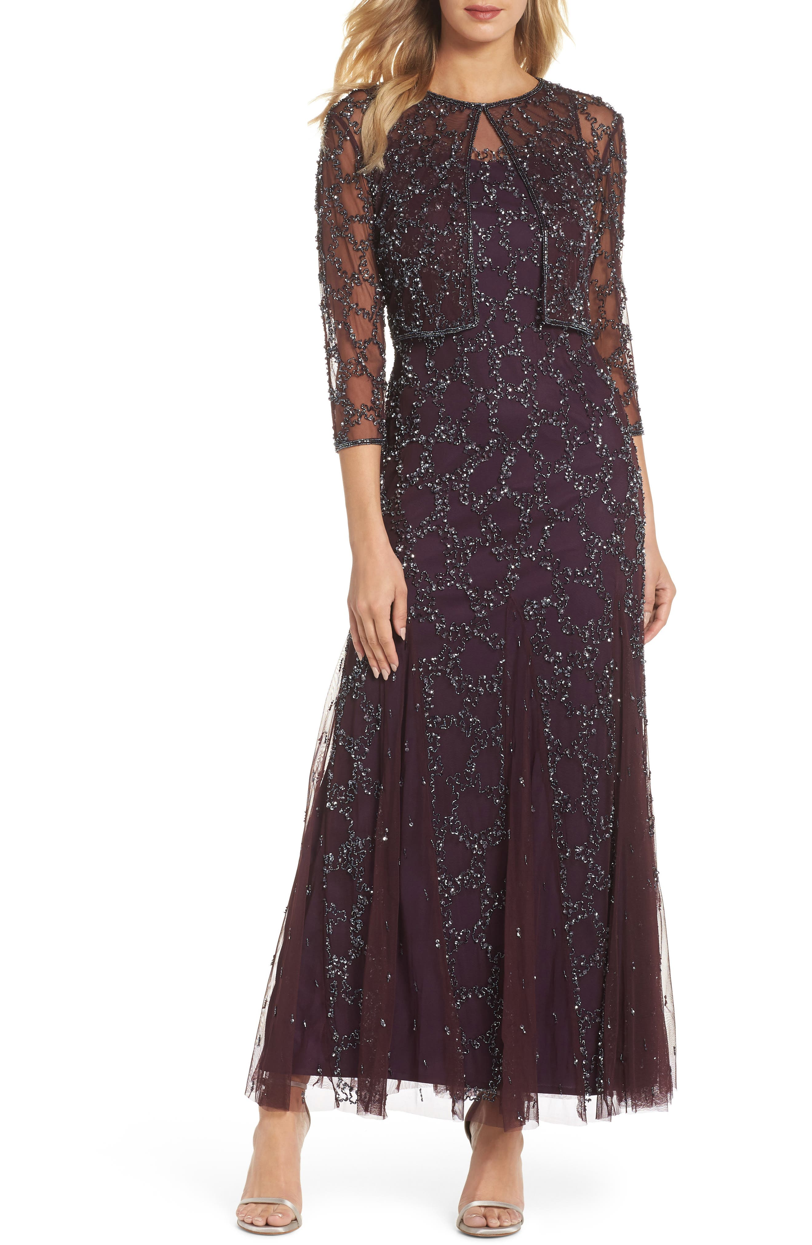 Sequin Mesh Gown with Jacket,                             Main thumbnail 1, color,                             502