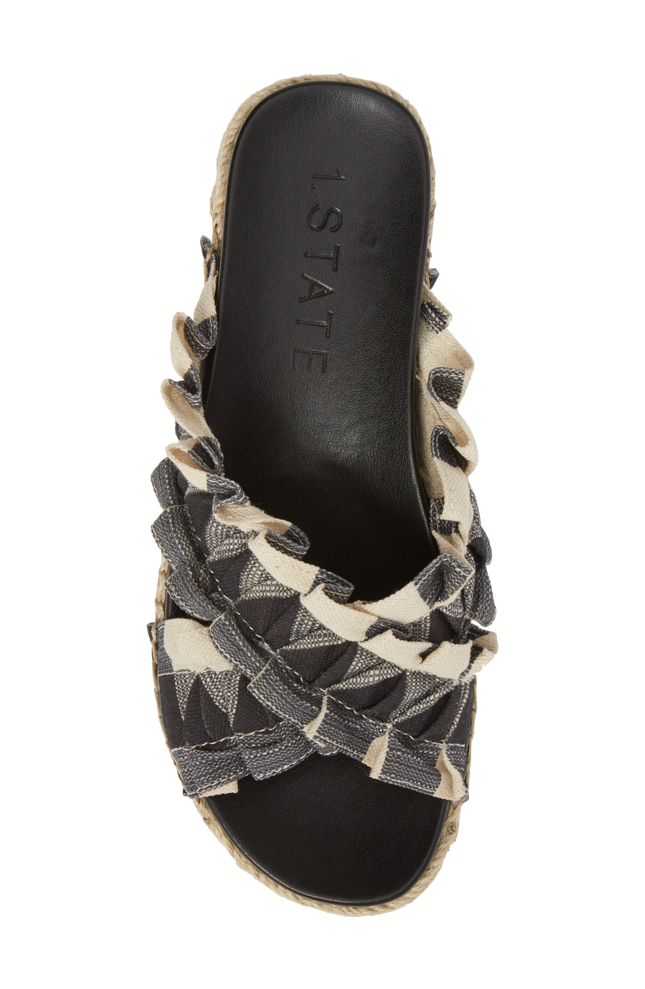 Salyn Slide Sandal,                             Alternate thumbnail 5, color,                             BLACK GINGHAM LINEN FABRIC