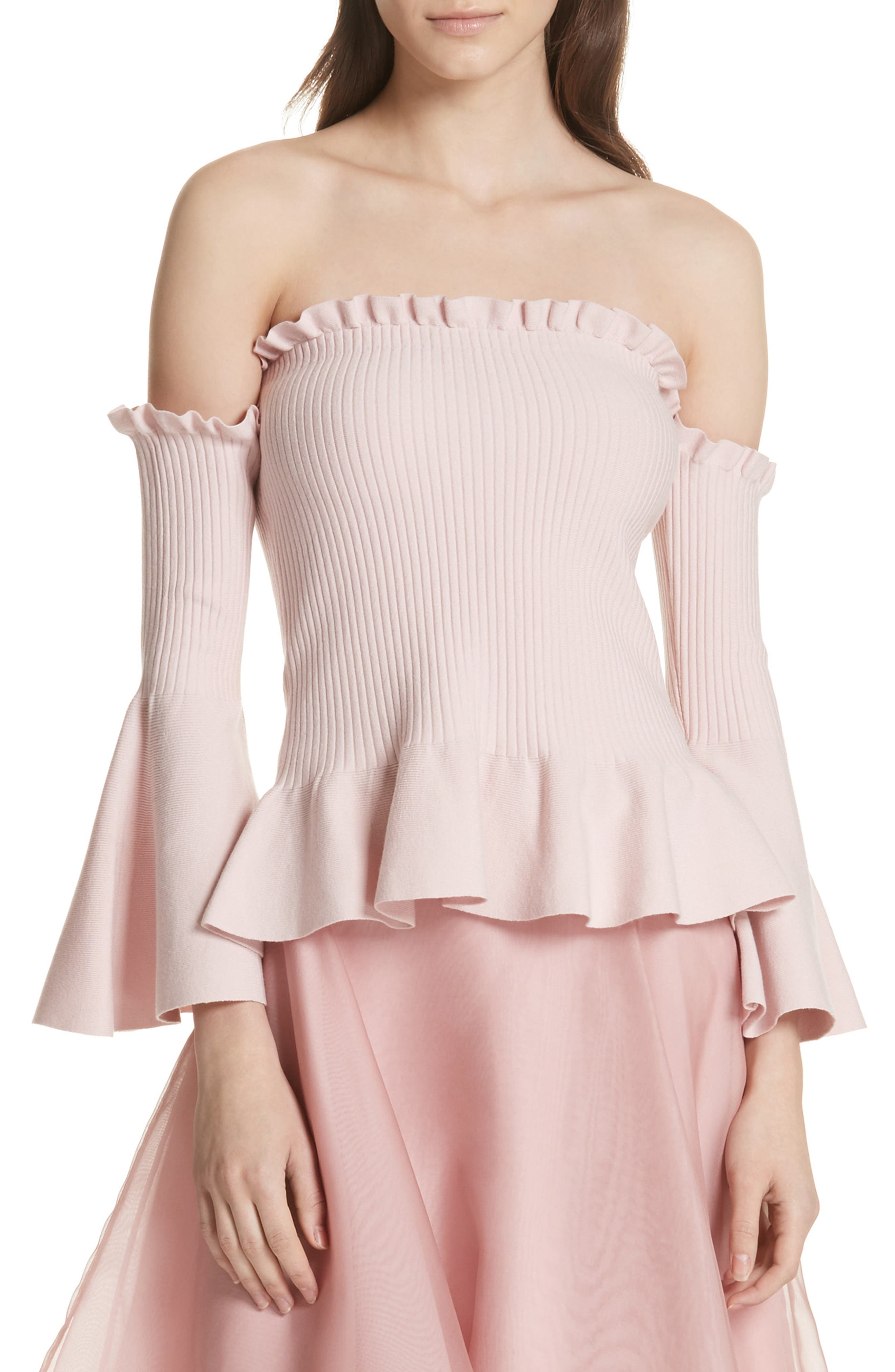 Pintuck Off the Shoulder Top,                             Main thumbnail 1, color,                             653