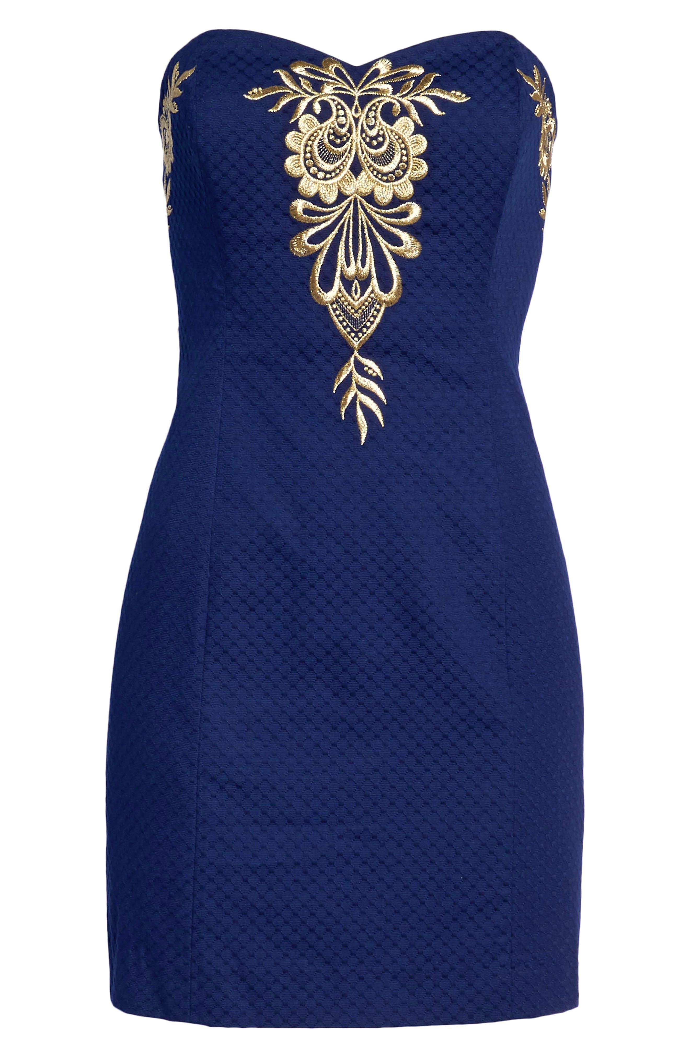 Demi Strapless Dress,                             Alternate thumbnail 7, color,