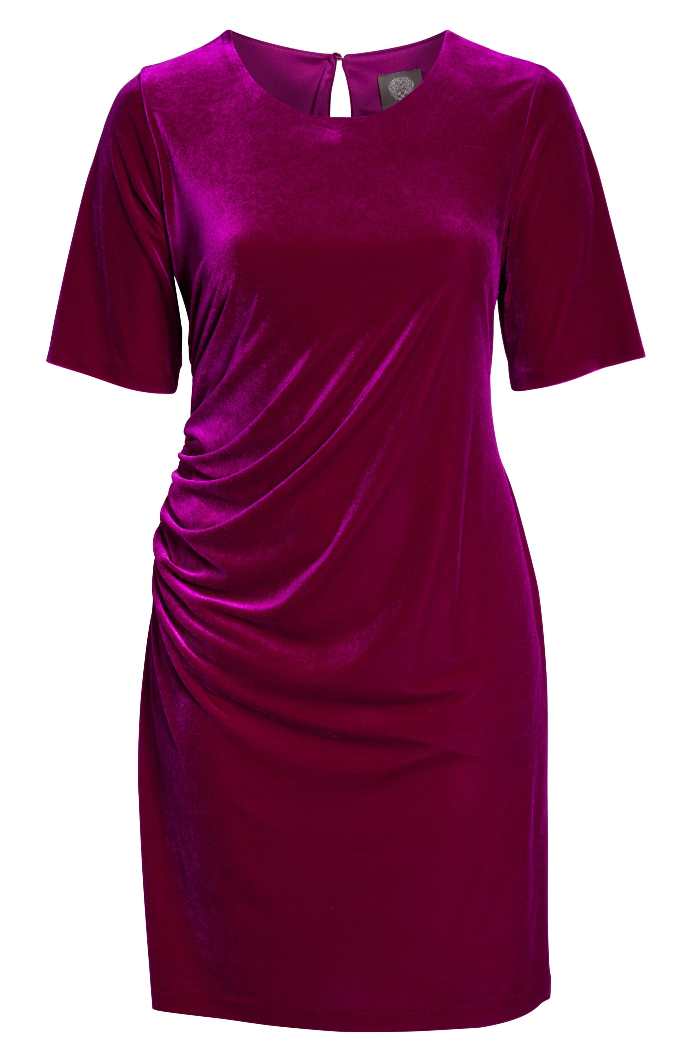 Velvet Side Ruche Body-Con Dress,                             Alternate thumbnail 8, color,                             FUSCHIA