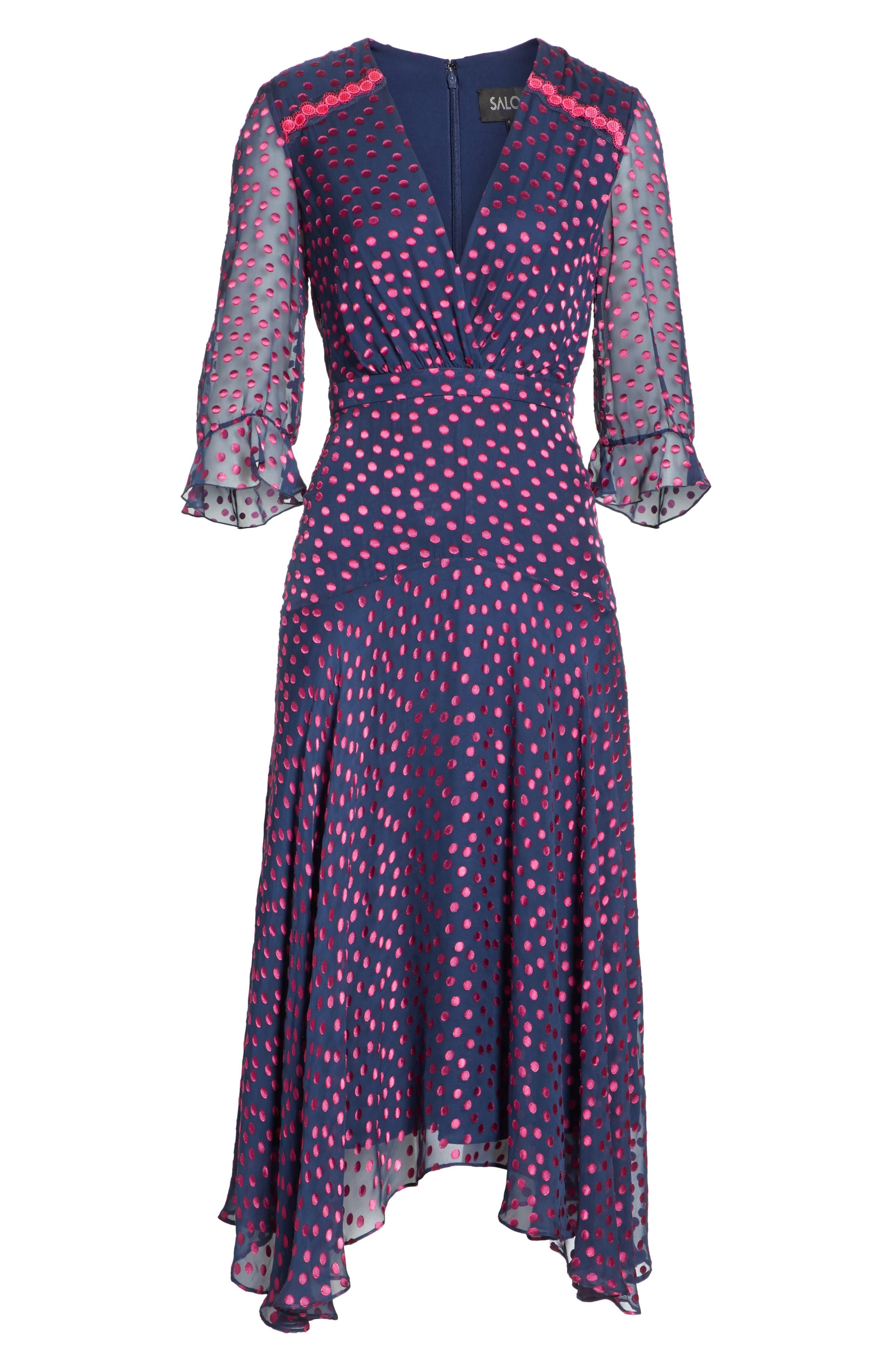 Edith Silk Blend Dress,                             Alternate thumbnail 6, color,                             NAVY/ MAGENTA