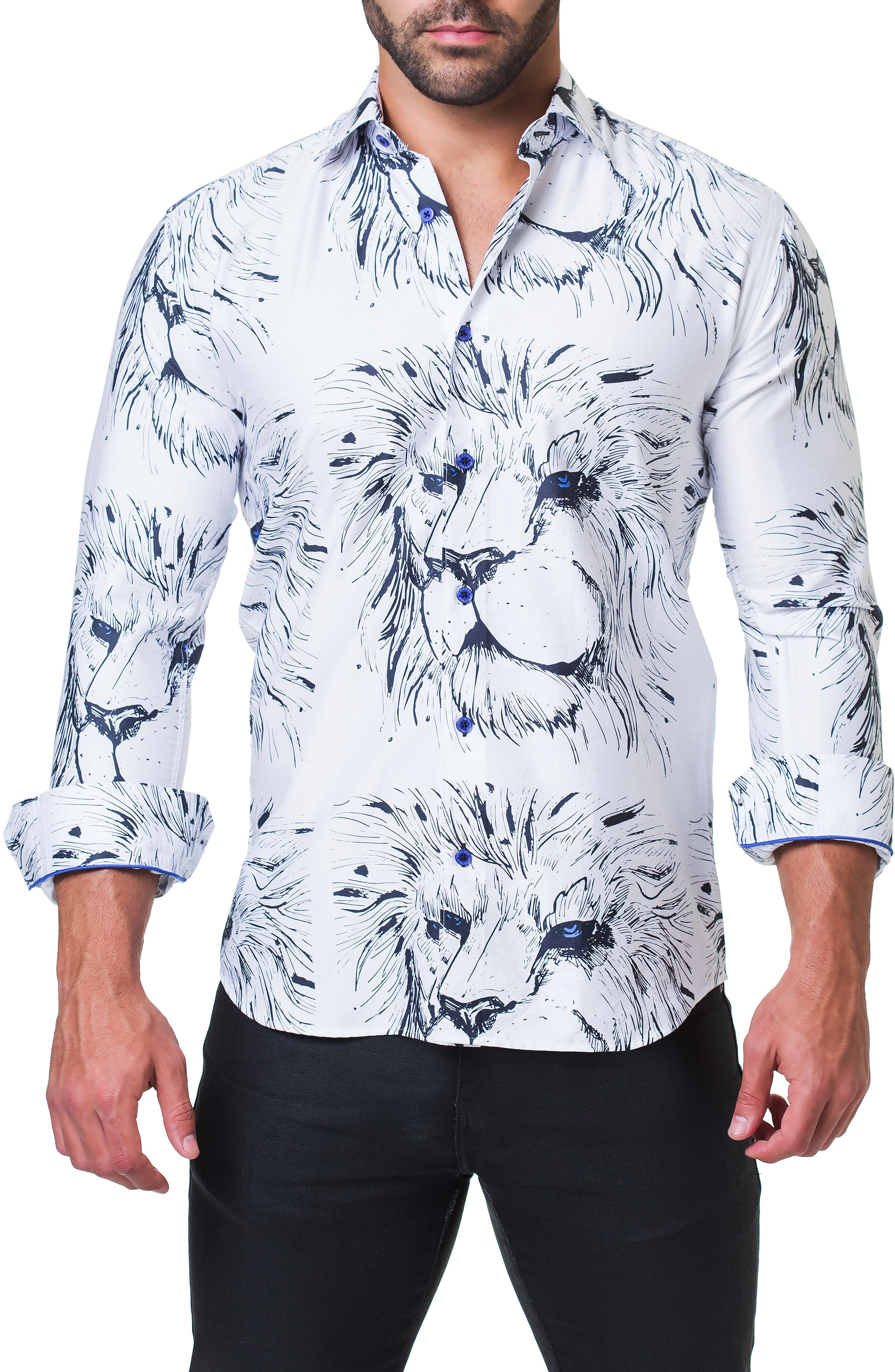 Fibonacci Lion Trim Fit Print Sport Shirt,                             Alternate thumbnail 4, color,                             110