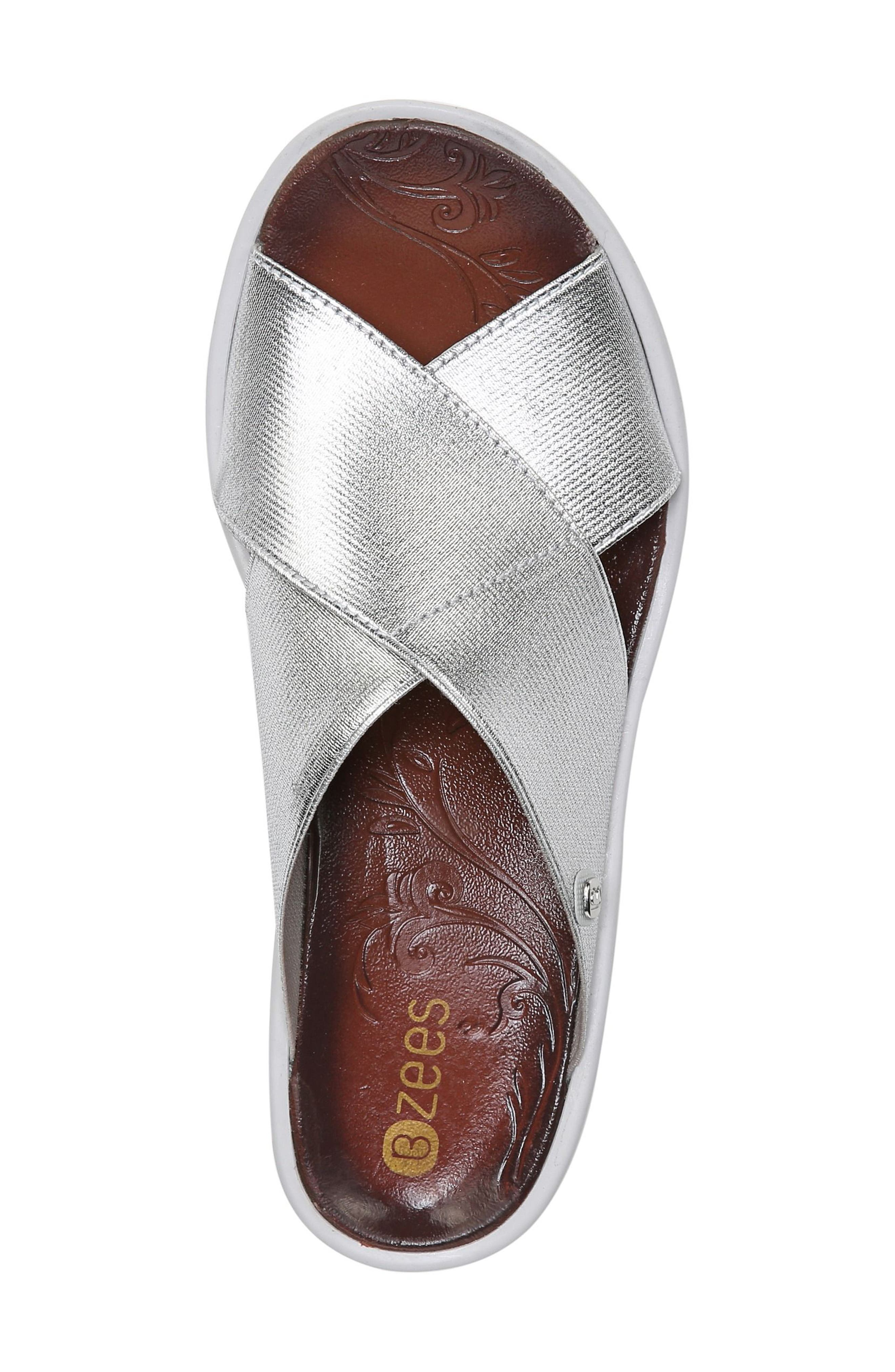 'Desire' Wedge Sandal,                             Alternate thumbnail 5, color,                             SILVER METALLIC