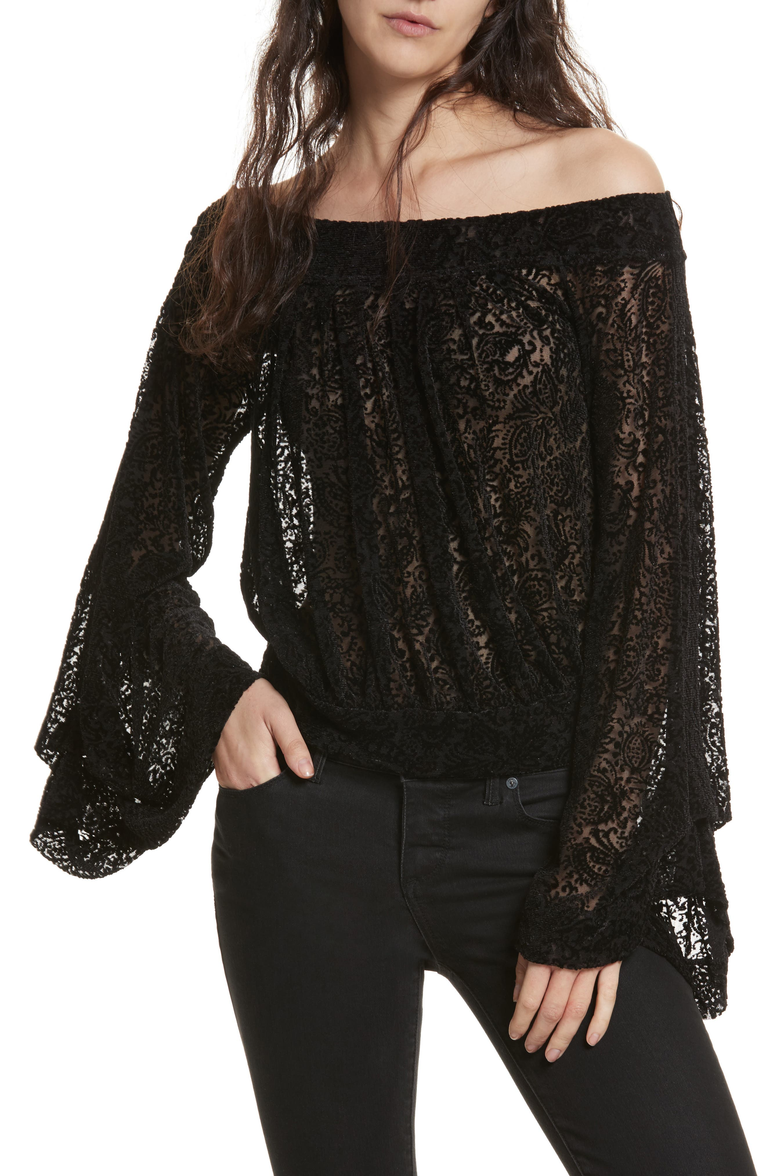 FREE PEOPLE,                             Ginger Berry Off the Shoulder Velvet Top,                             Main thumbnail 1, color,                             019