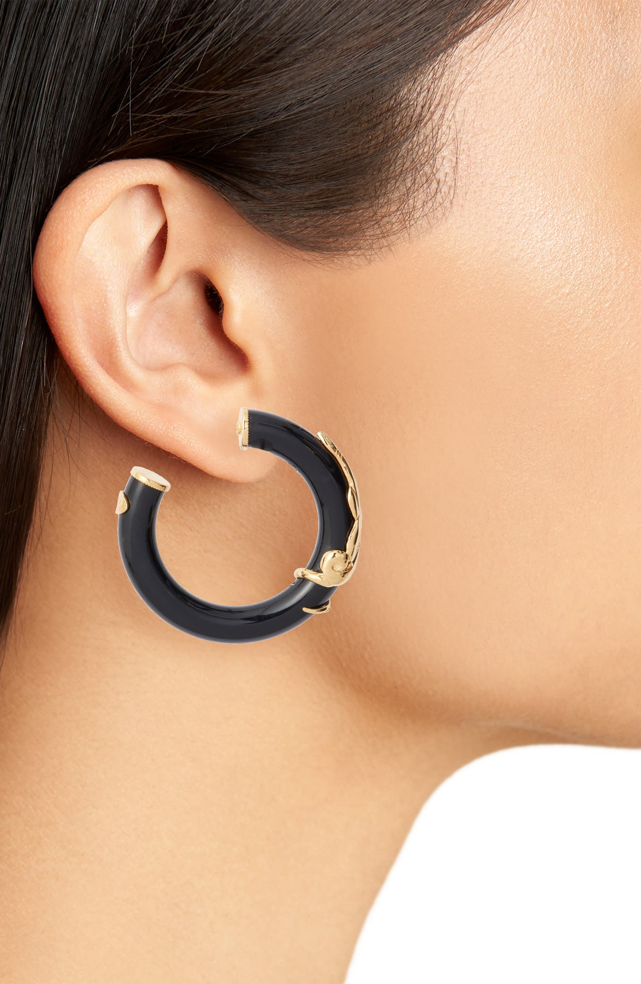 Small Cobra Hoop Earrings,                             Alternate thumbnail 2, color,                             BLACK