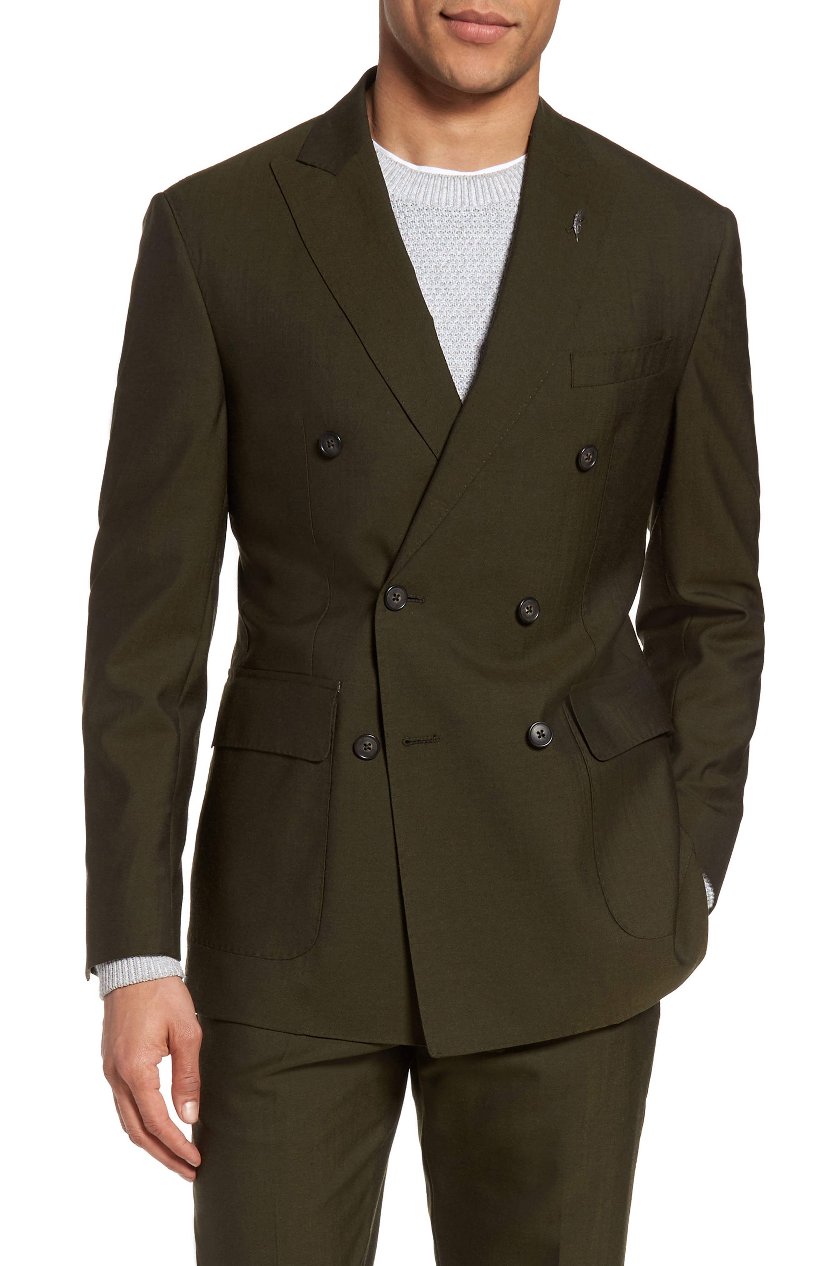 Classic Fit Double Breasted Solid Wool Suit,                             Alternate thumbnail 5, color,                             300