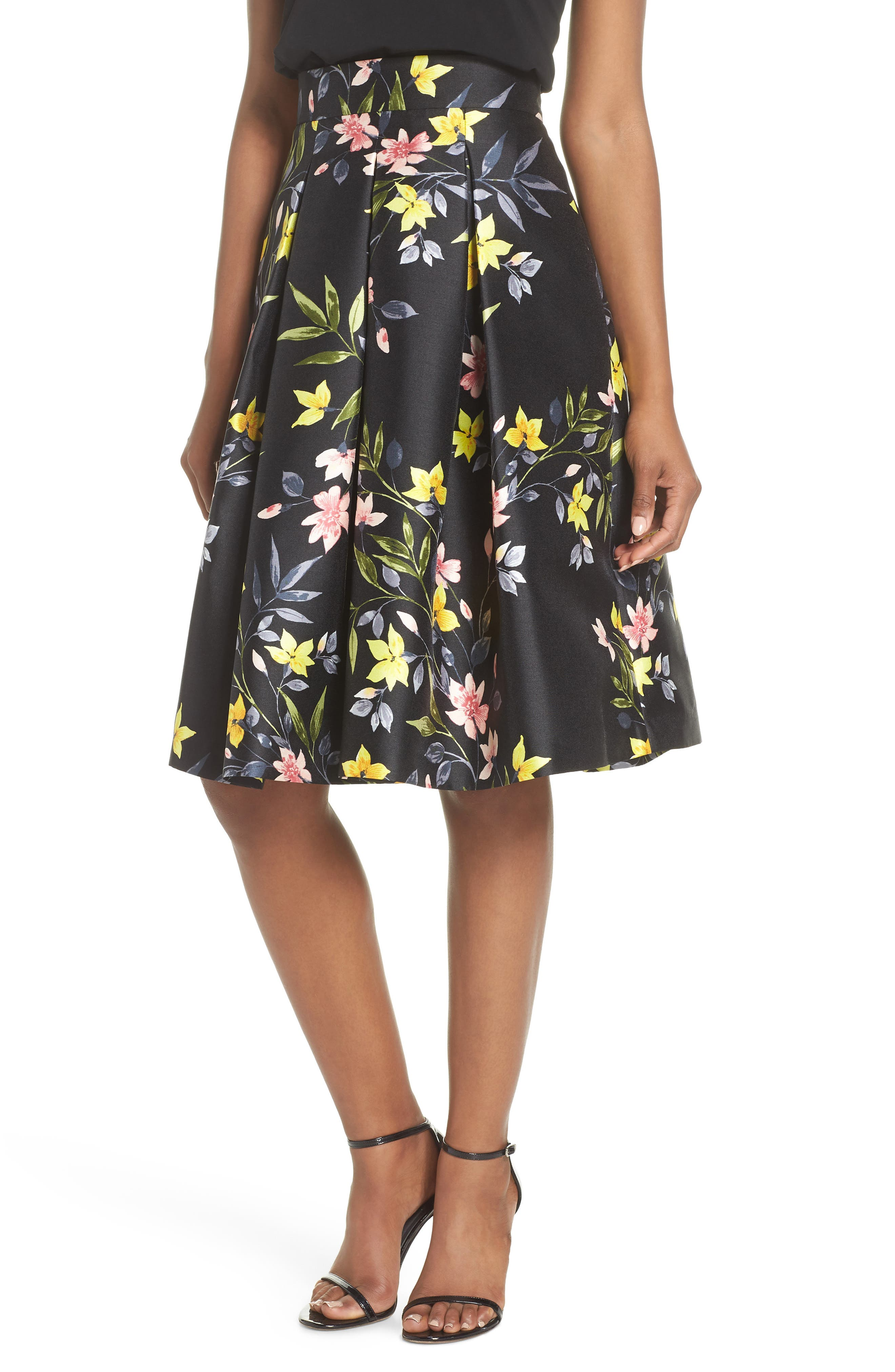 Floral A-Line Skirt,                             Main thumbnail 1, color,                             001