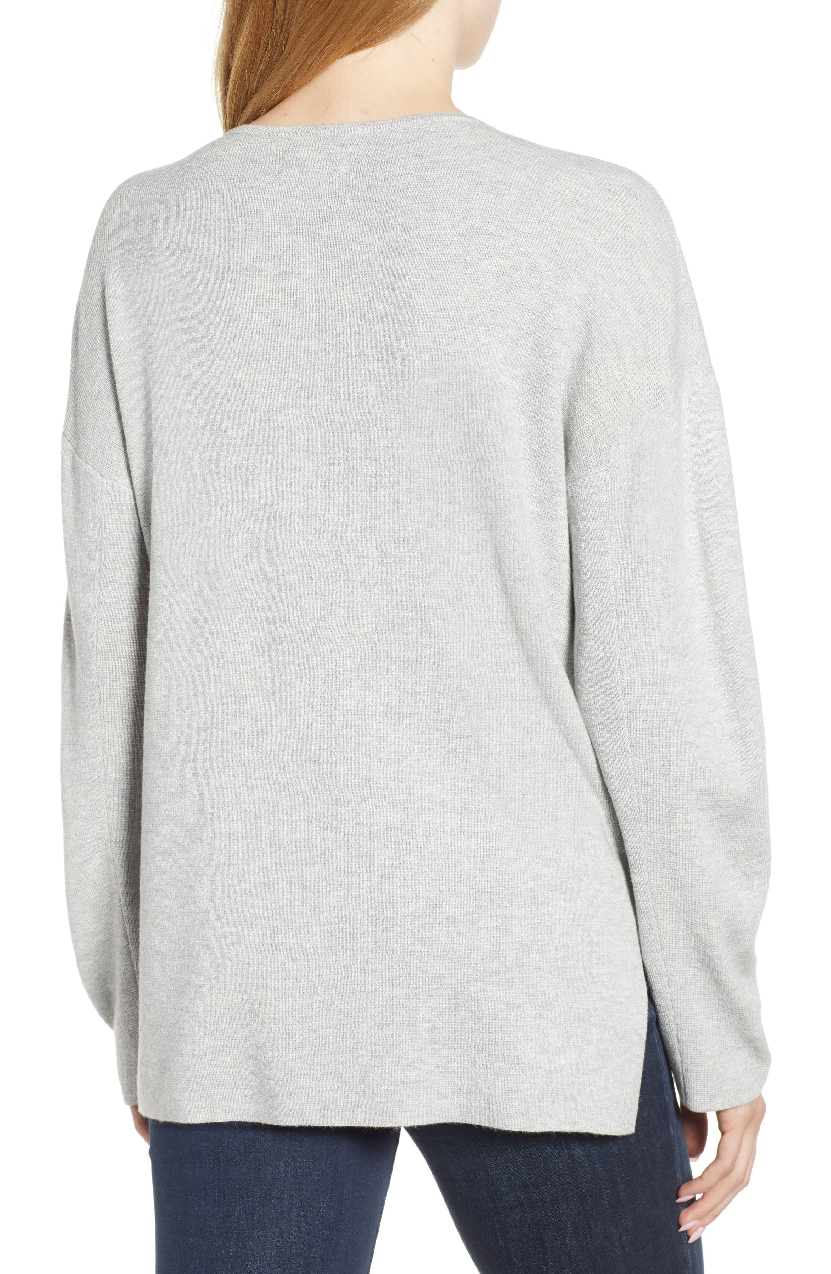 Split Neck Sweater,                             Alternate thumbnail 2, color,                             MED GREY