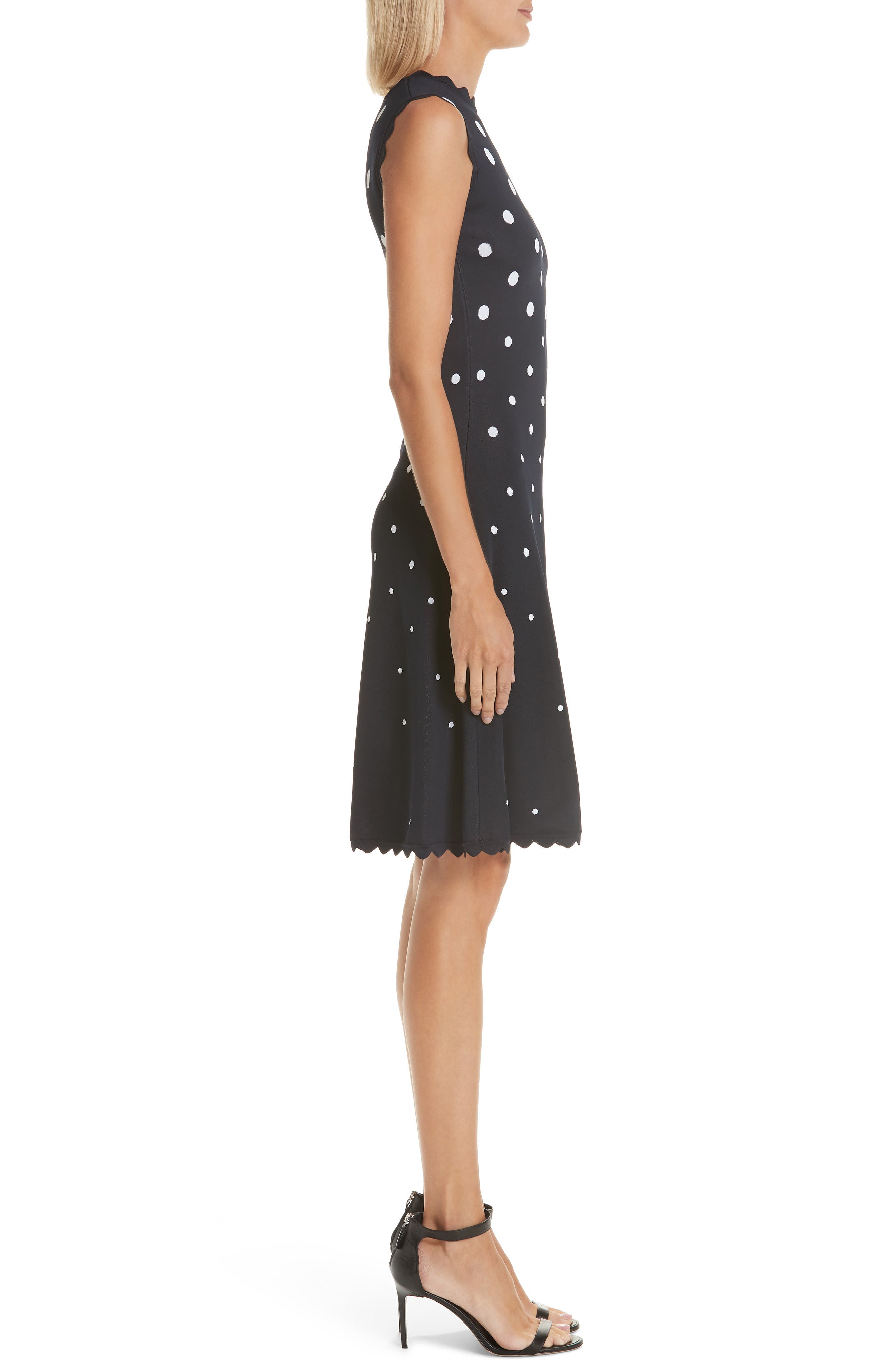 Scallop Edge Polka Dot A-Line Dress,                             Alternate thumbnail 3, color,                             NVW-NAVY/ WHITE