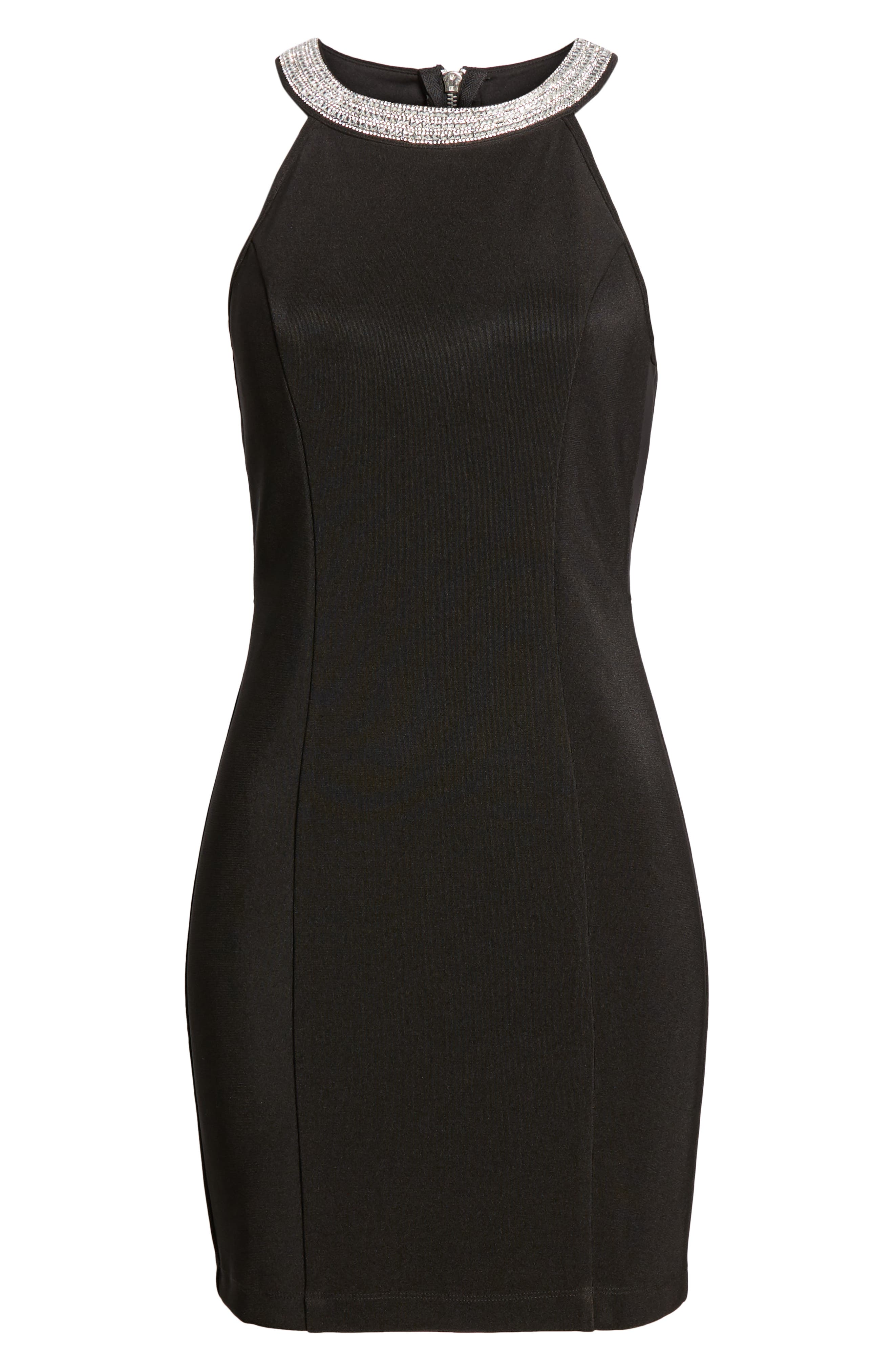 Side Illusion Sleeveless Sheath Dress,                             Alternate thumbnail 7, color,                             BLACK