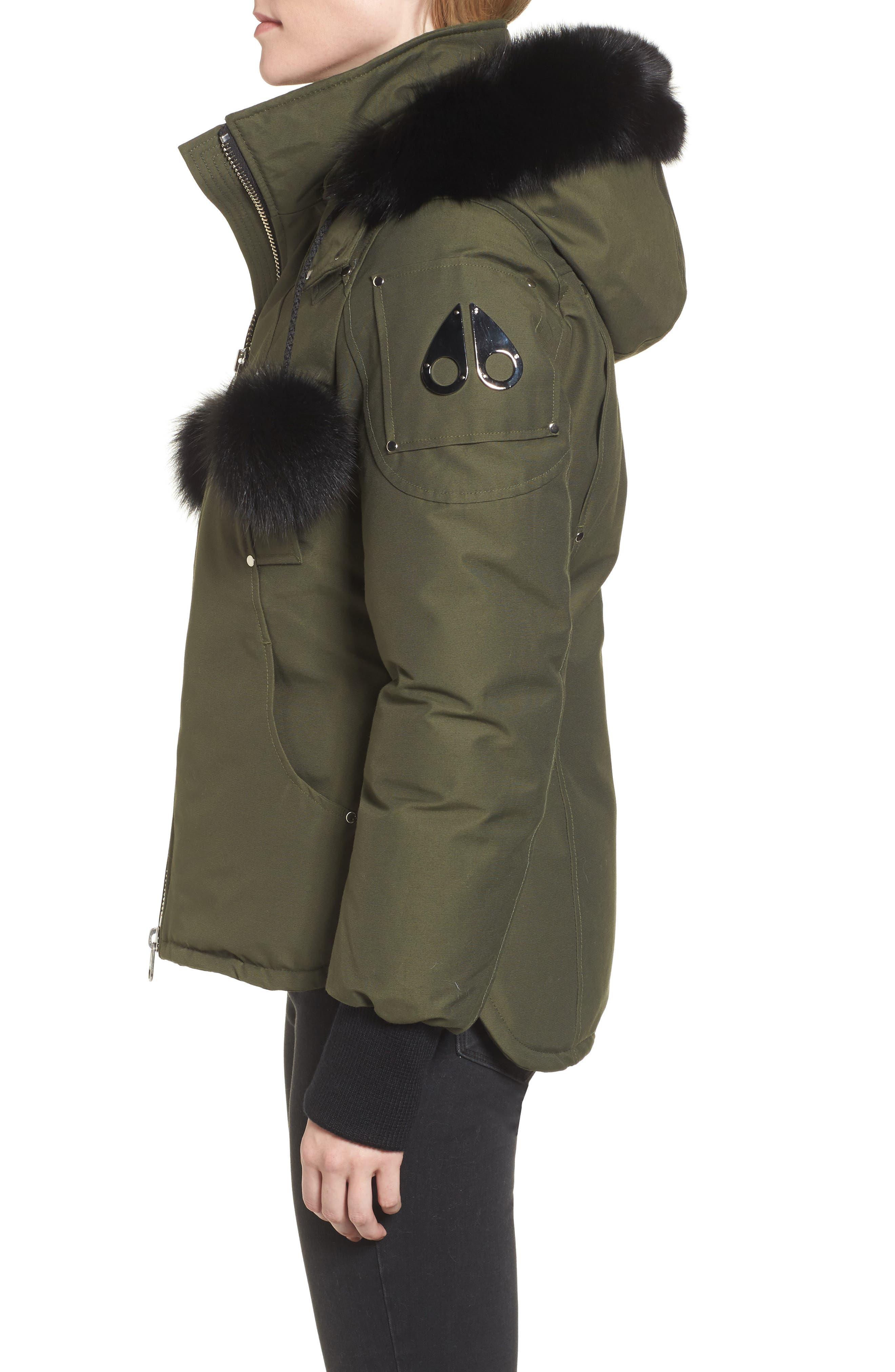 Genuine Fox Fur Trim Hooded Down Jacket,                             Alternate thumbnail 3, color,                             300