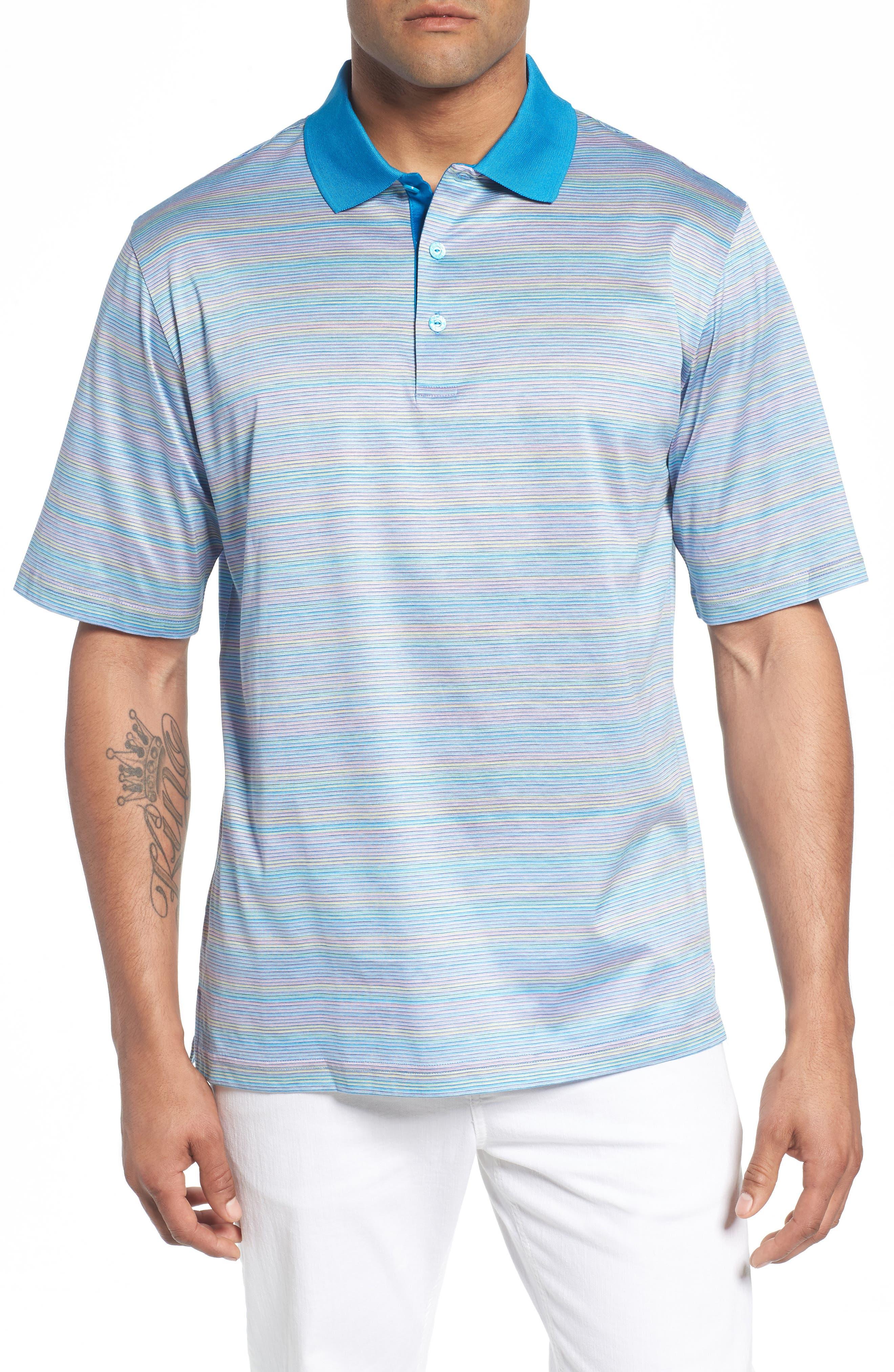 Stripe Mercerized Cotton Polo,                         Main,                         color, LILAC