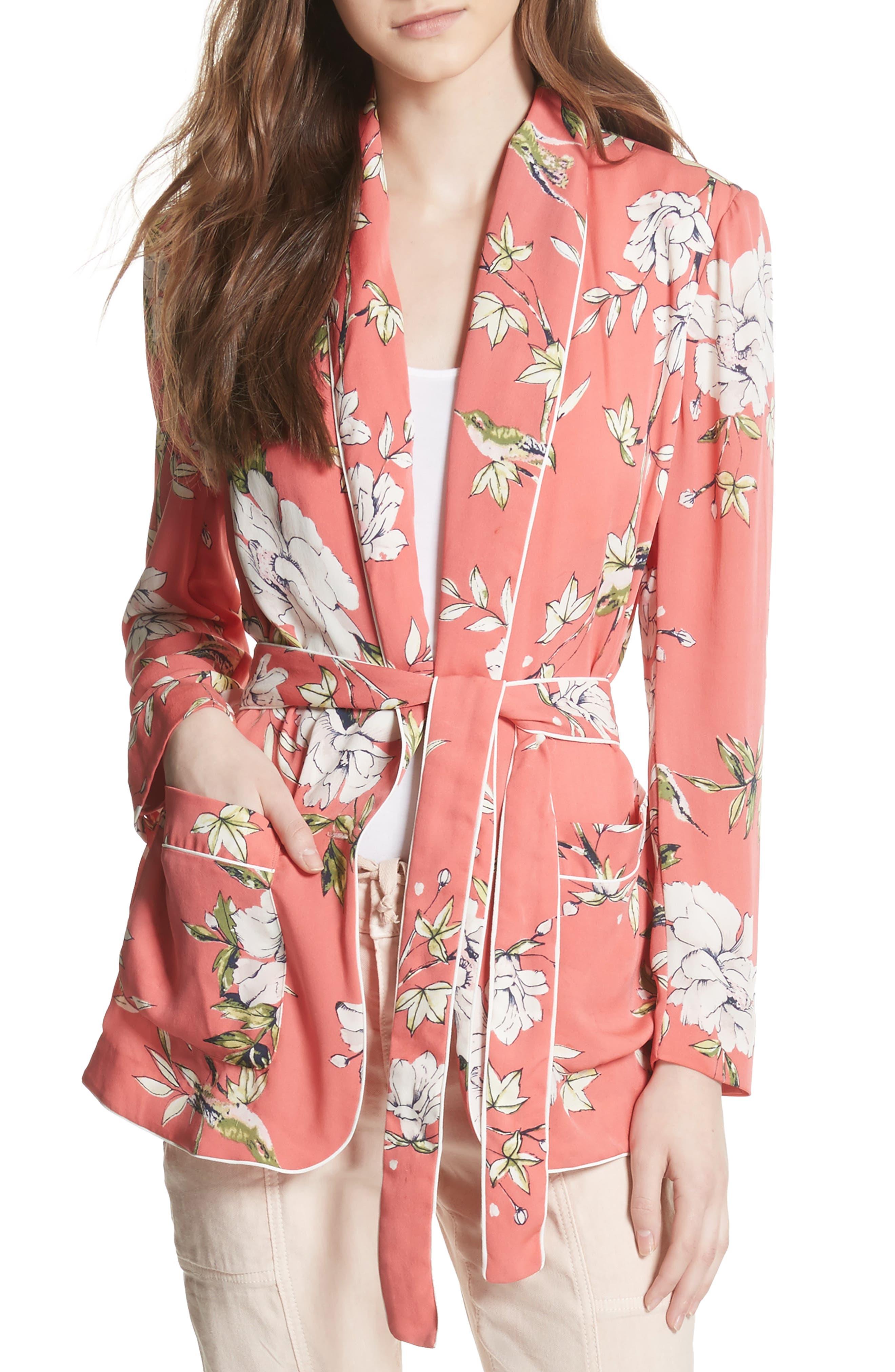Anasophia Tie Silk Blazer,                             Main thumbnail 2, color,