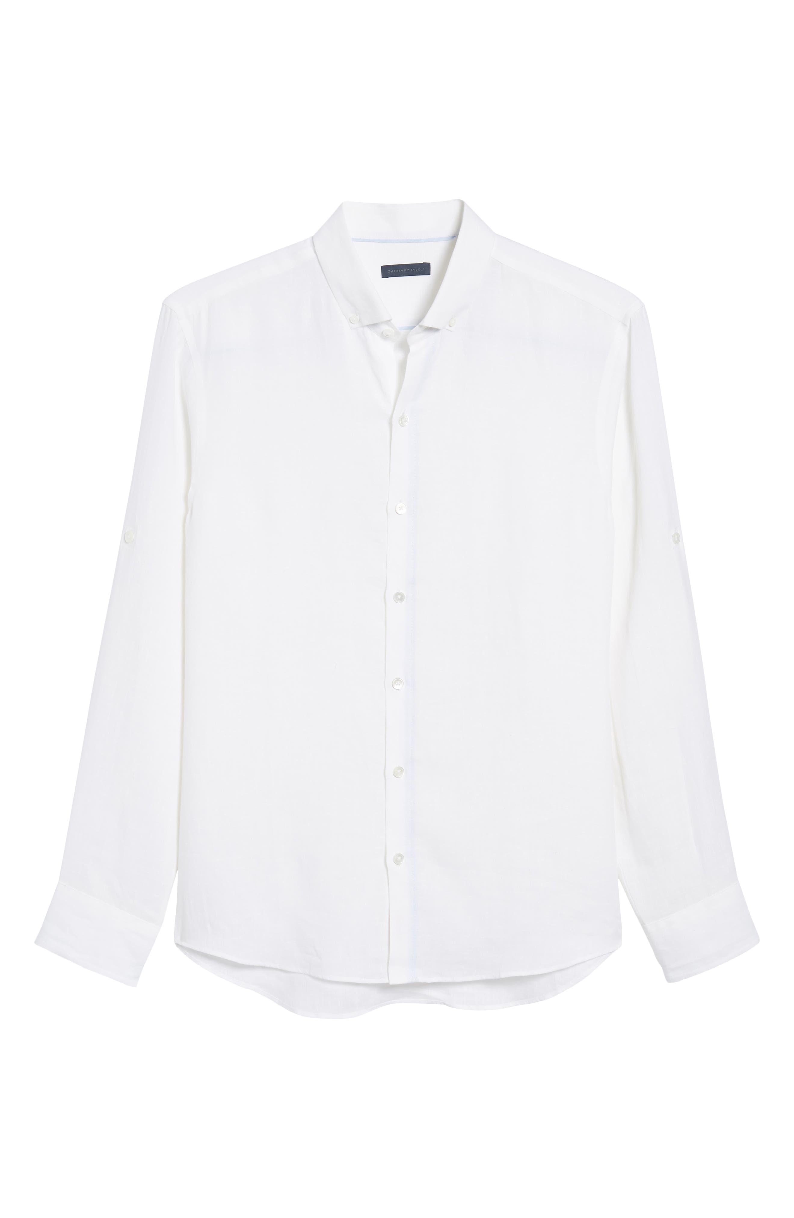 Yang Linen Sport Shirt,                             Alternate thumbnail 6, color,                             WHITE