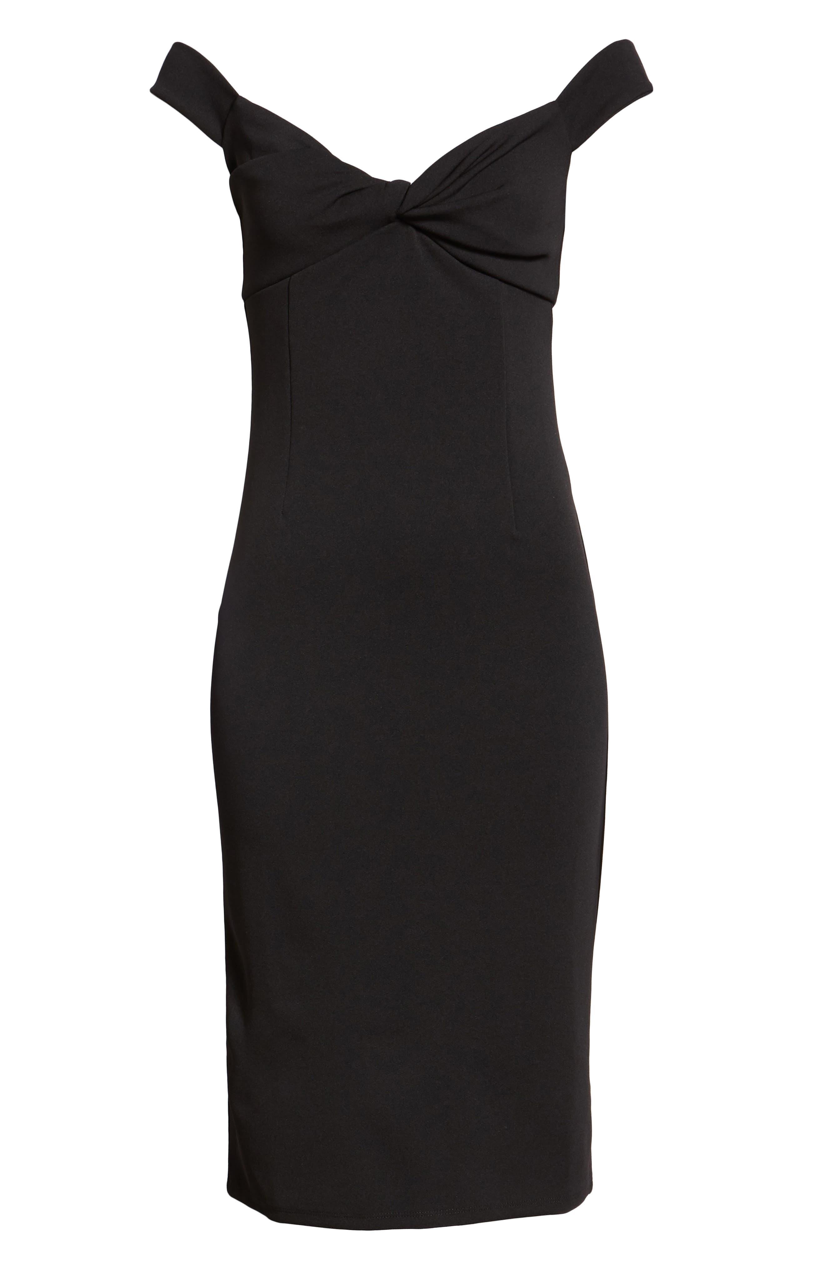 Twist Front Bardot Dress,                             Alternate thumbnail 4, color,                             BLACK