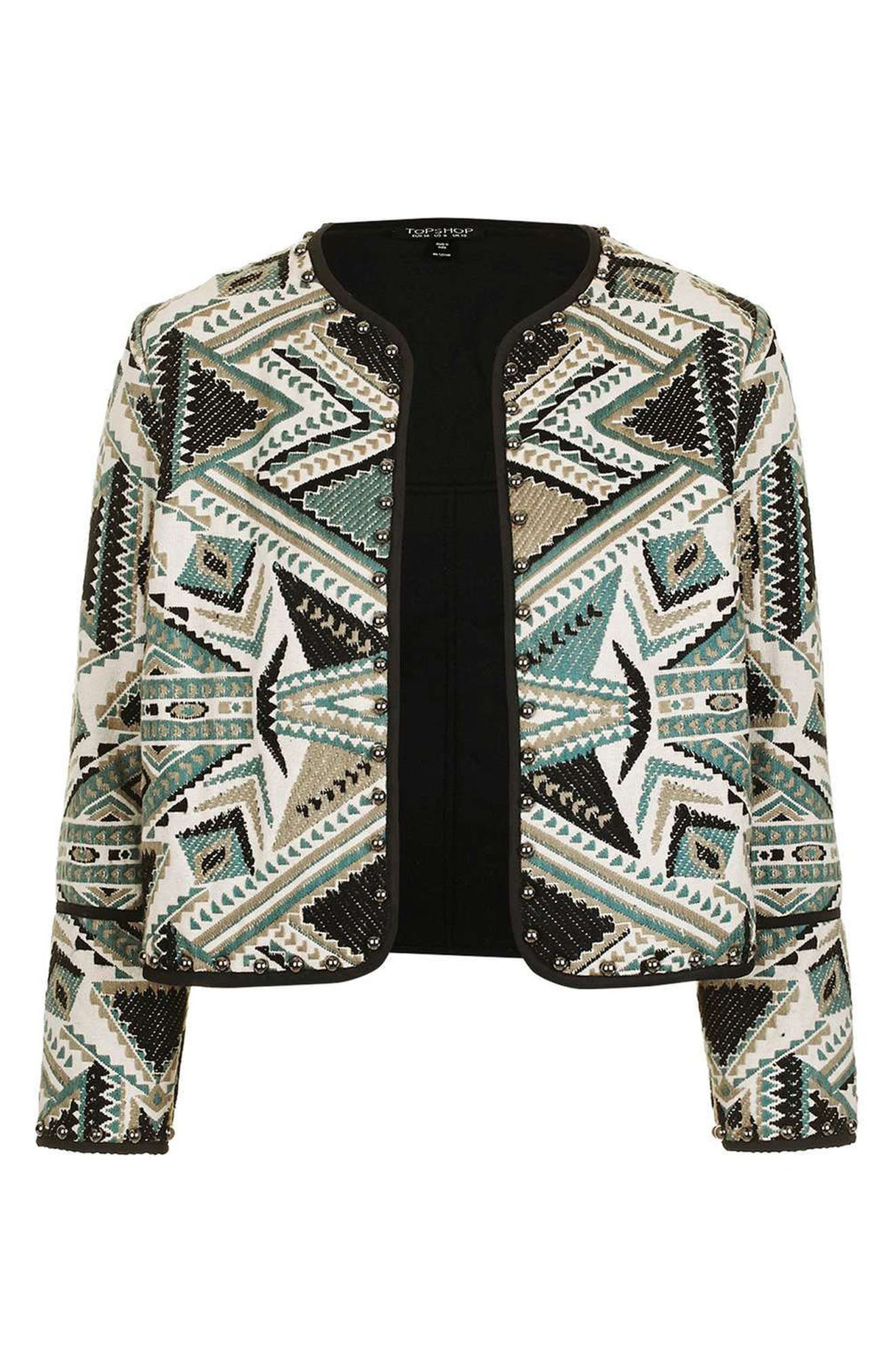 Studded Embroidered Jacket,                             Alternate thumbnail 4, color,                             020
