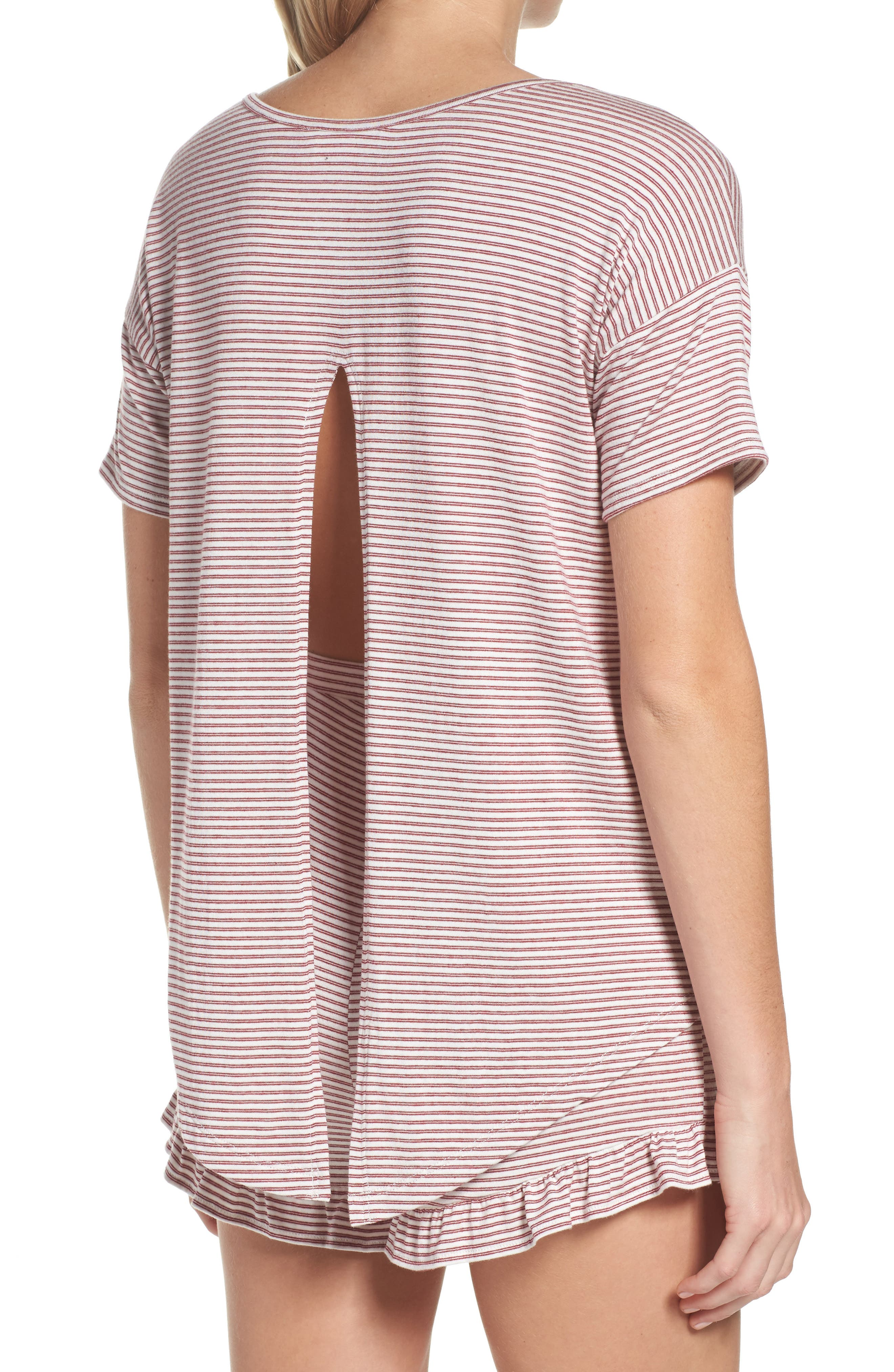 Wilona Back Tie Stripe Tee,                             Alternate thumbnail 2, color,                             RED/ WHITE