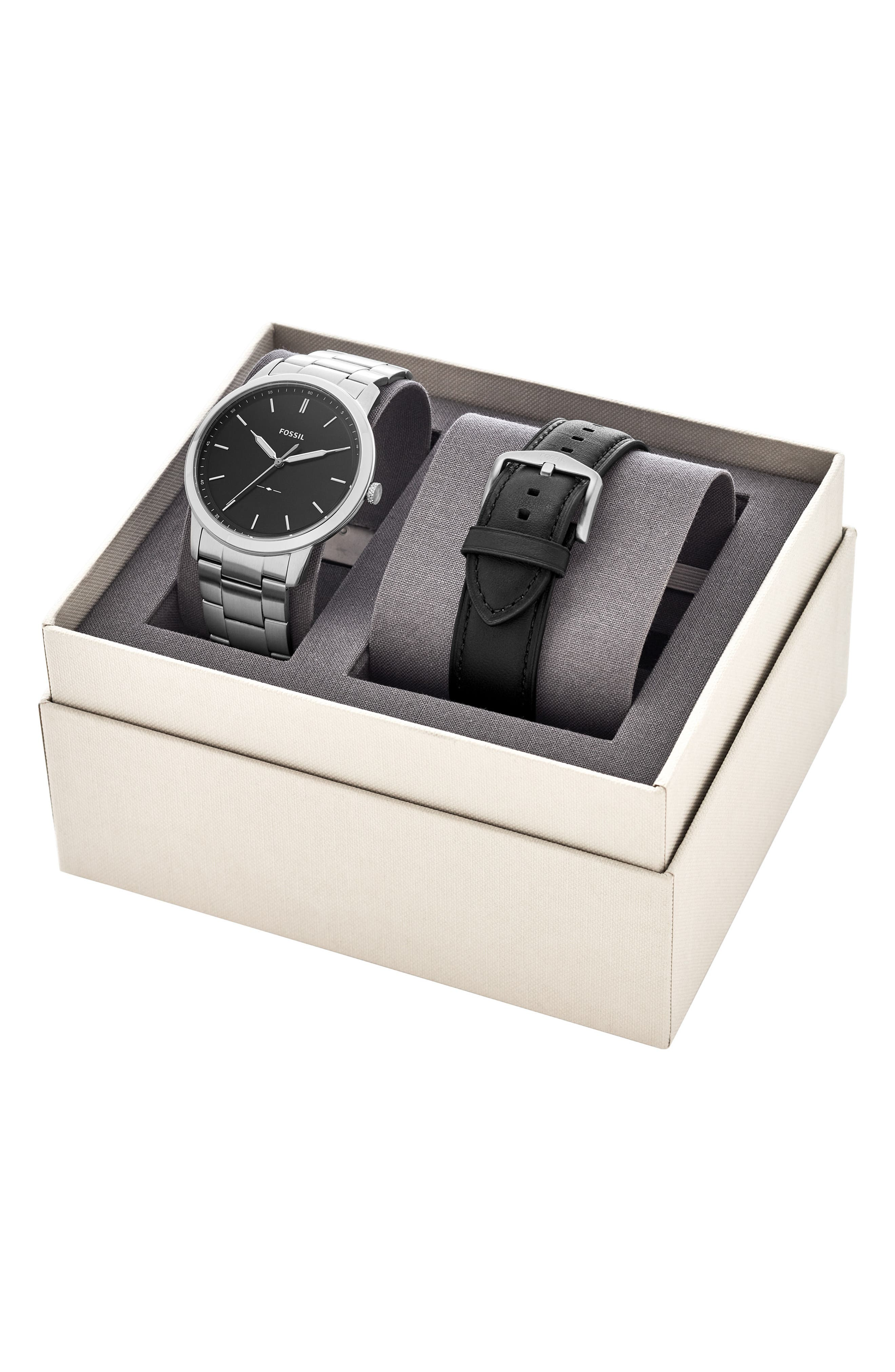FOSSIL,                             Minimalist Bracelet Watch & Leather Strap Gift Set, 44mm,                             Alternate thumbnail 3, color,                             040
