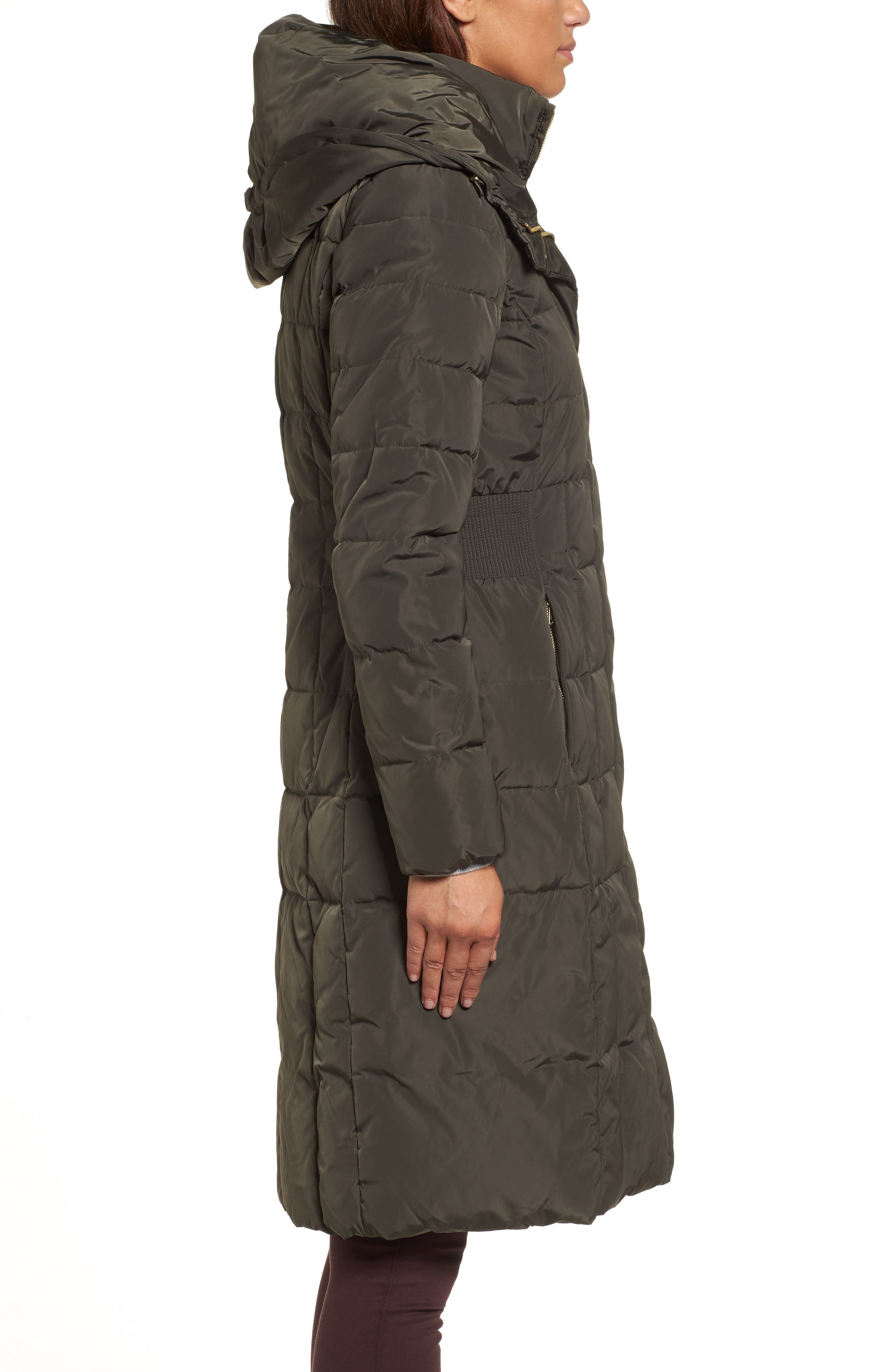 Cole Haan Bib Insert Down & Feather Fill Coat,                             Alternate thumbnail 3, color,                             FOREST