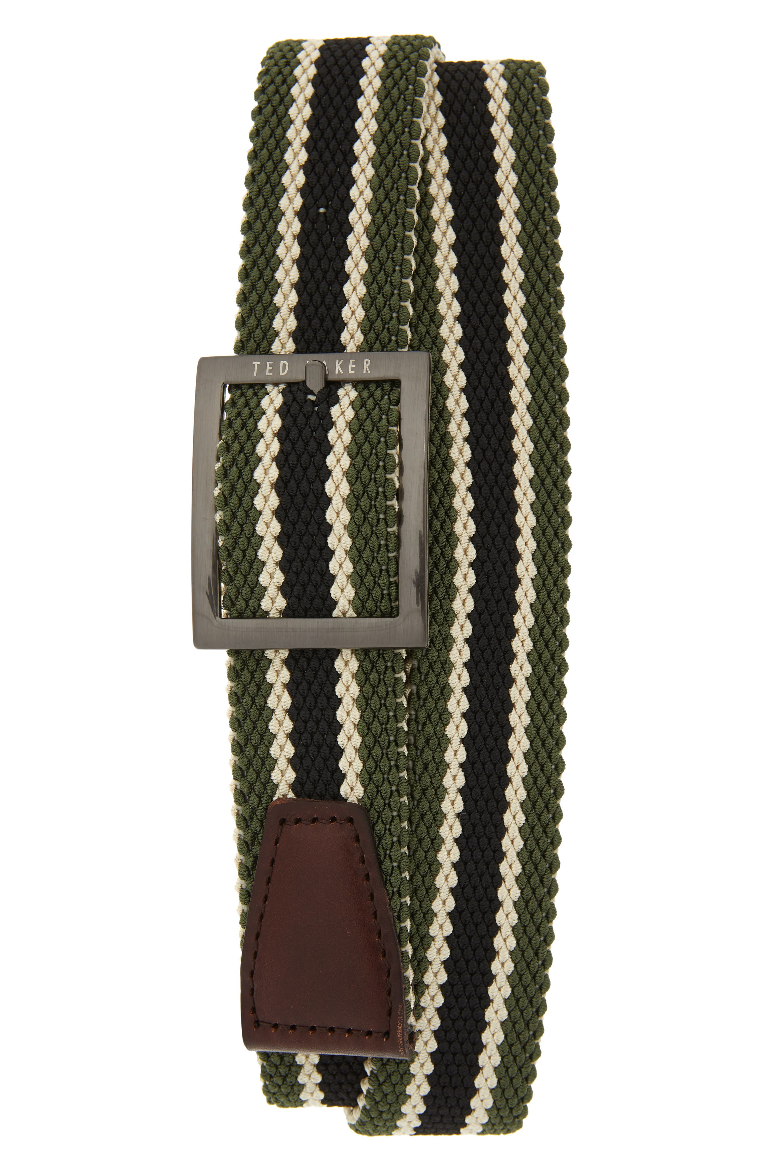 Ted Baker London Reversible Stretch Belt, Olive