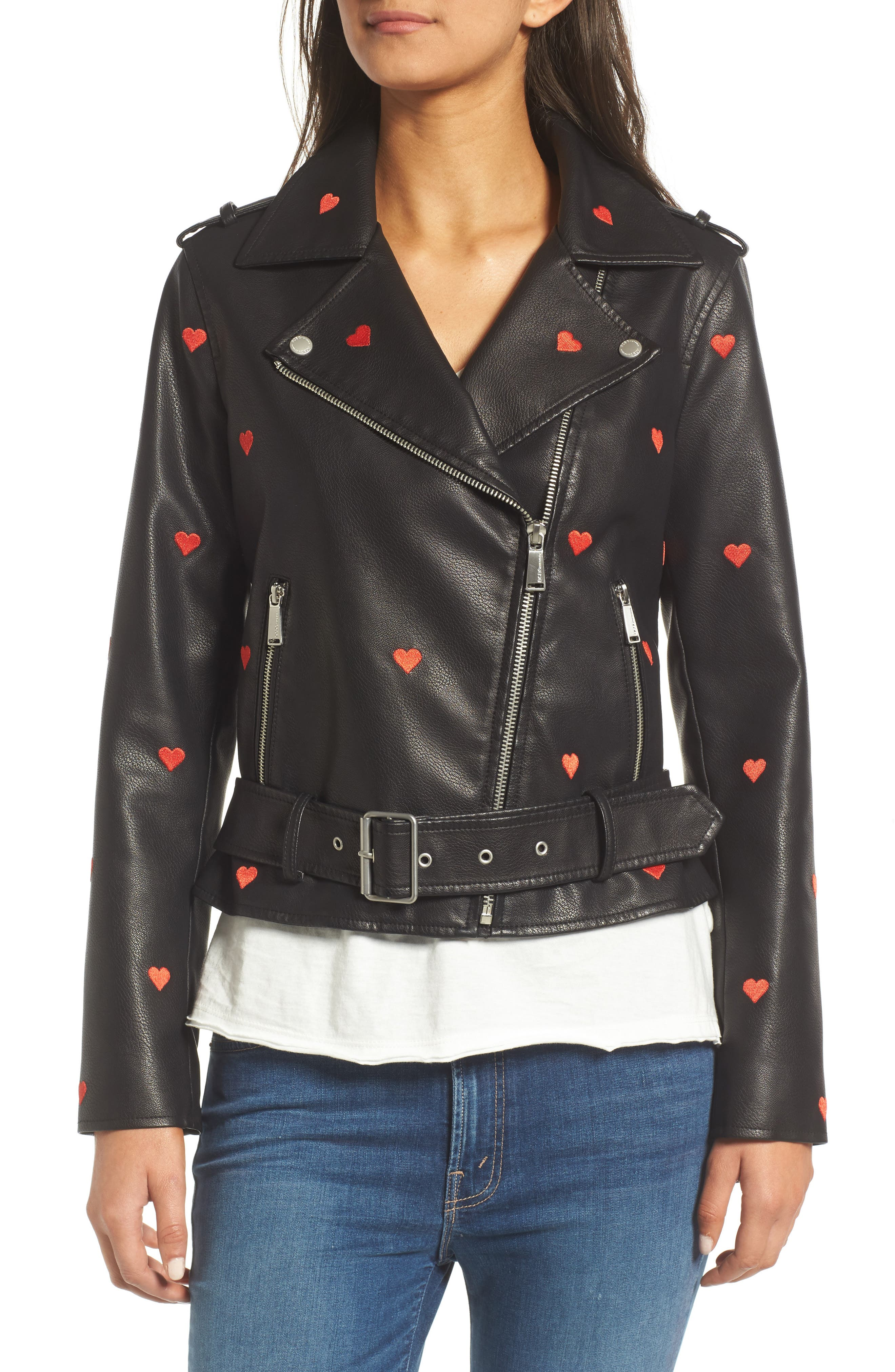 Heart Embroidered Faux Leather Moto Jacket,                             Alternate thumbnail 4, color,                             001