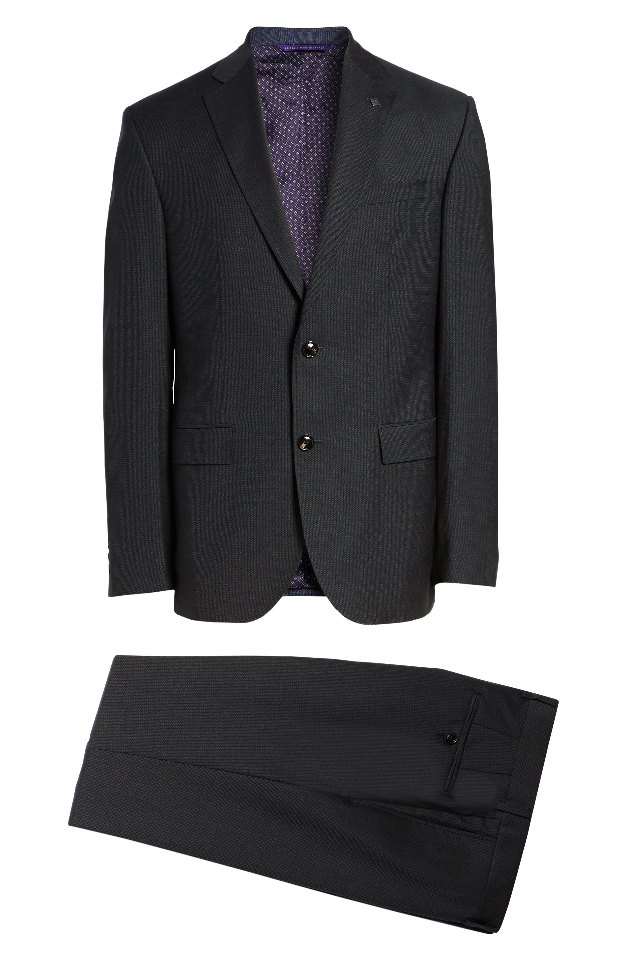 Roger Trim Fit Solid Wool Suit,                             Alternate thumbnail 8, color,                             001