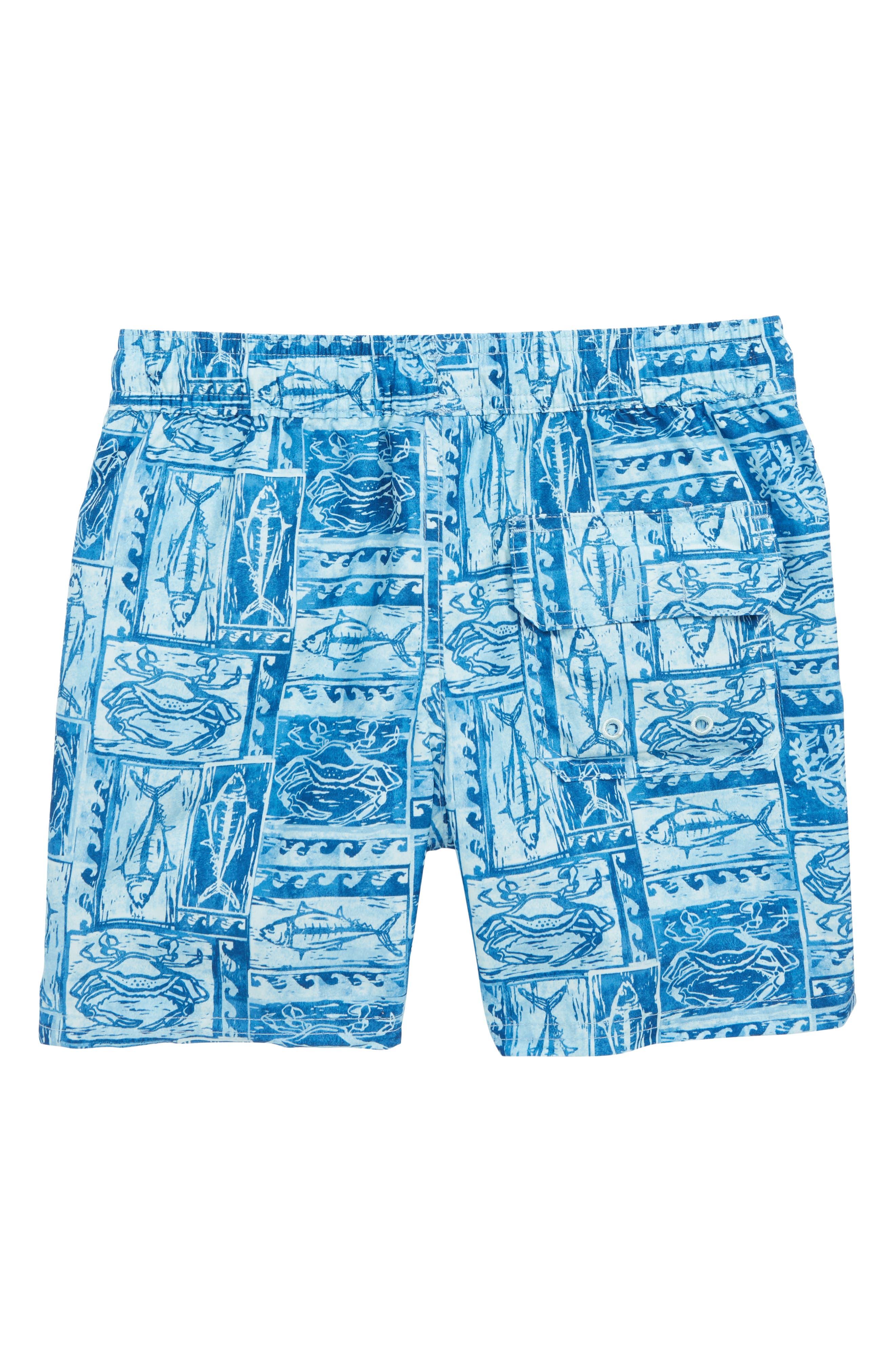 Woodblock Sea Life Chappy Swim Trunks,                             Alternate thumbnail 2, color,                             JAKE BLUE