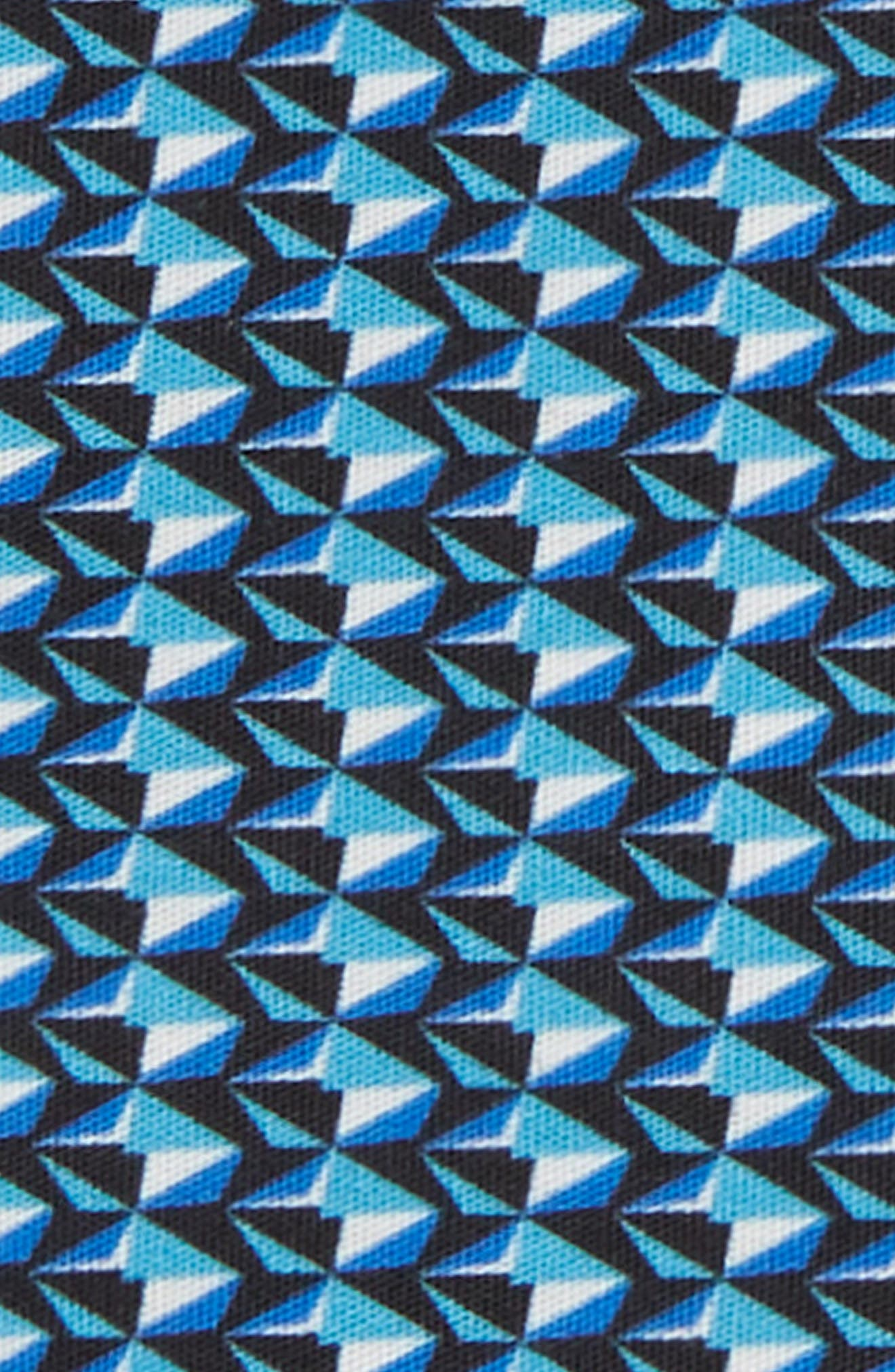 Geometric Cotton Pocket Square,                             Alternate thumbnail 3, color,                             DIAMOND GEO BLUE