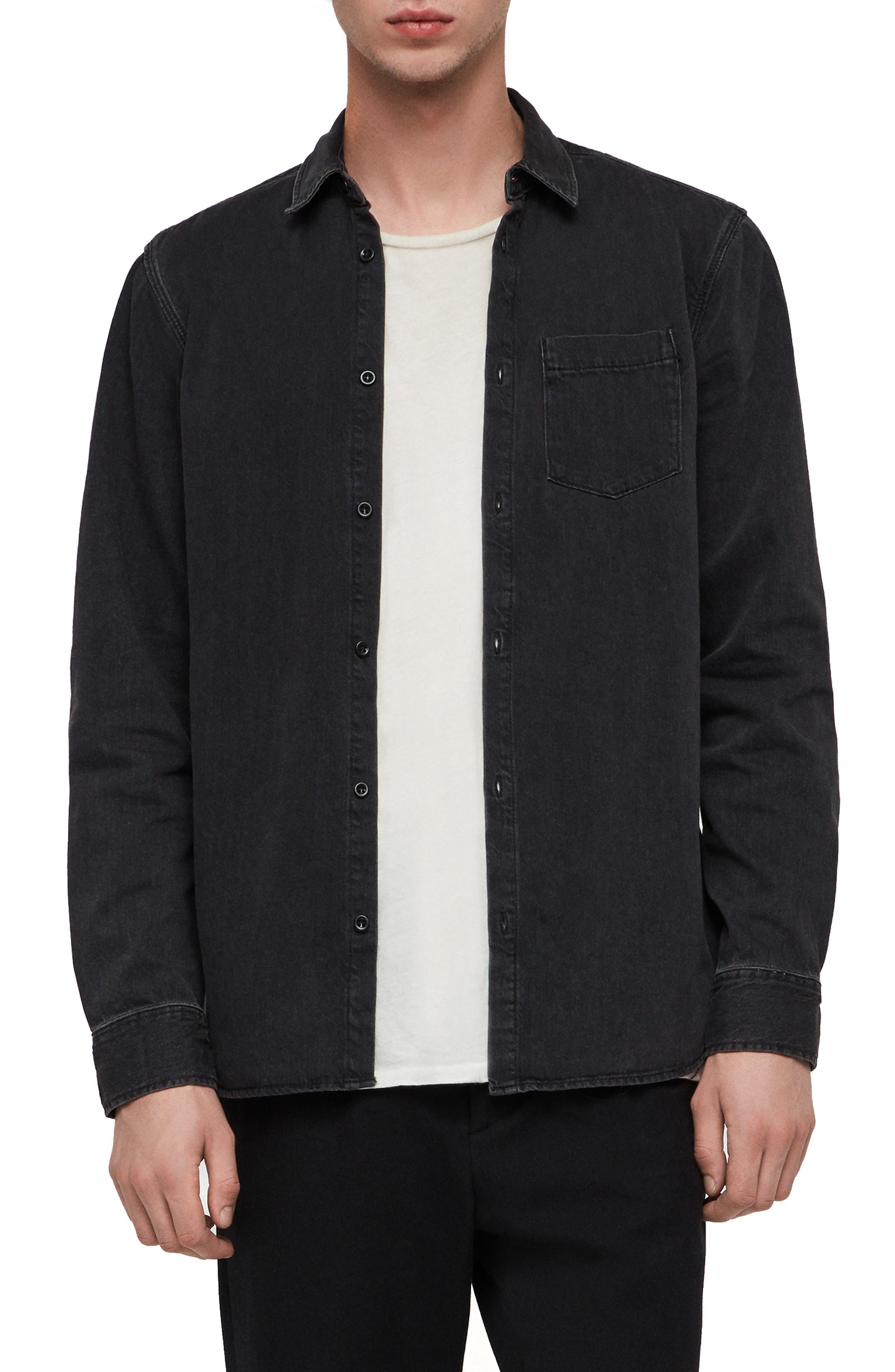 Brenner Denim Slim Fit Sport Shirt,                         Main,                         color, BLACK
