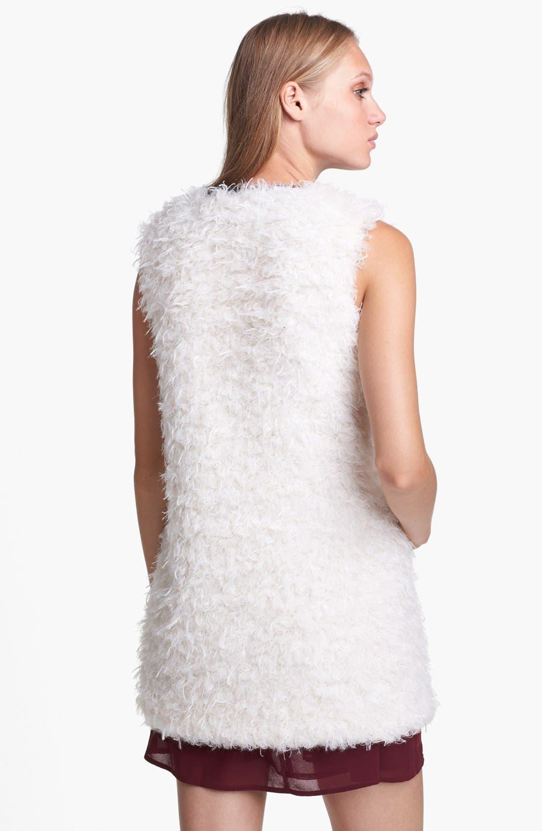 ASTR Faux Leather Trim Fuzzy Vest,                             Alternate thumbnail 2, color,                             250